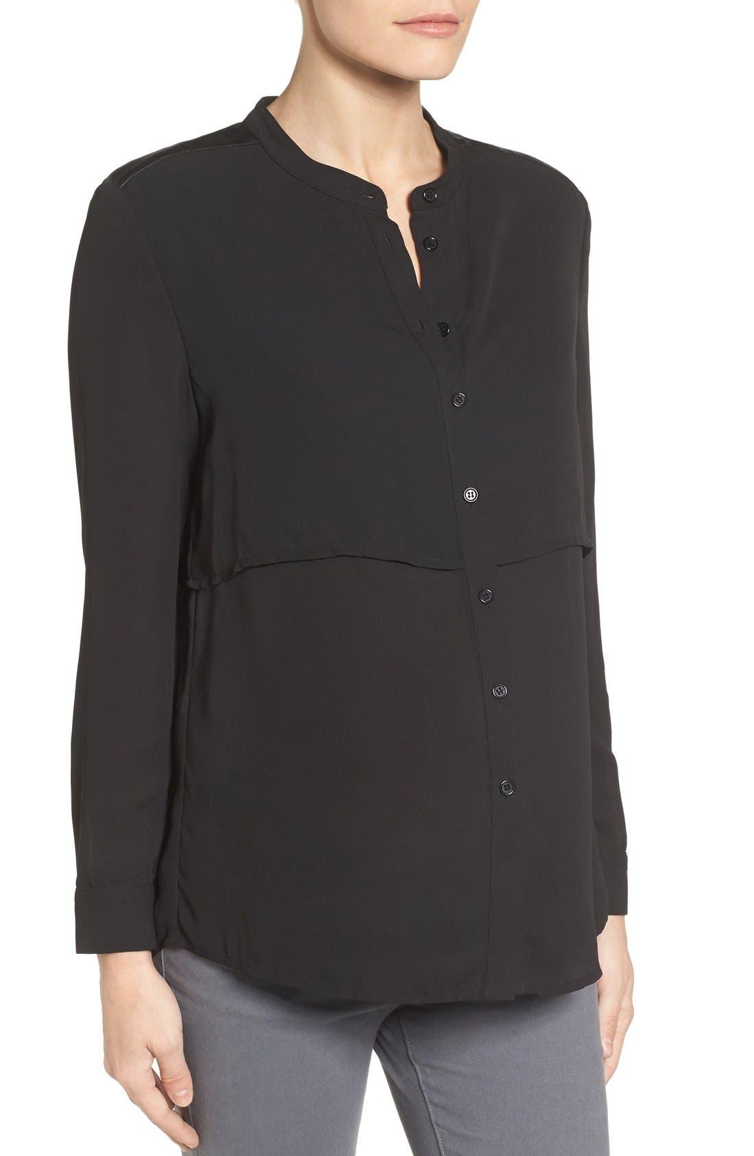 Jenni Maternity/Nursing Shirt,                             Alternate thumbnail 3, color,                             Black
