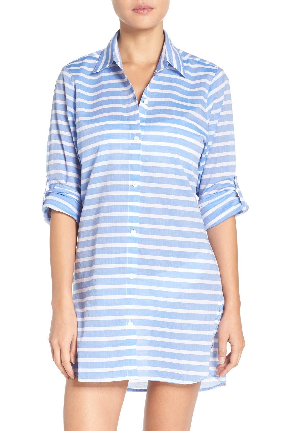 Brenton Stripe Boyfriend Shirt Cover-Up,                         Main,                         color, Vivid Blue