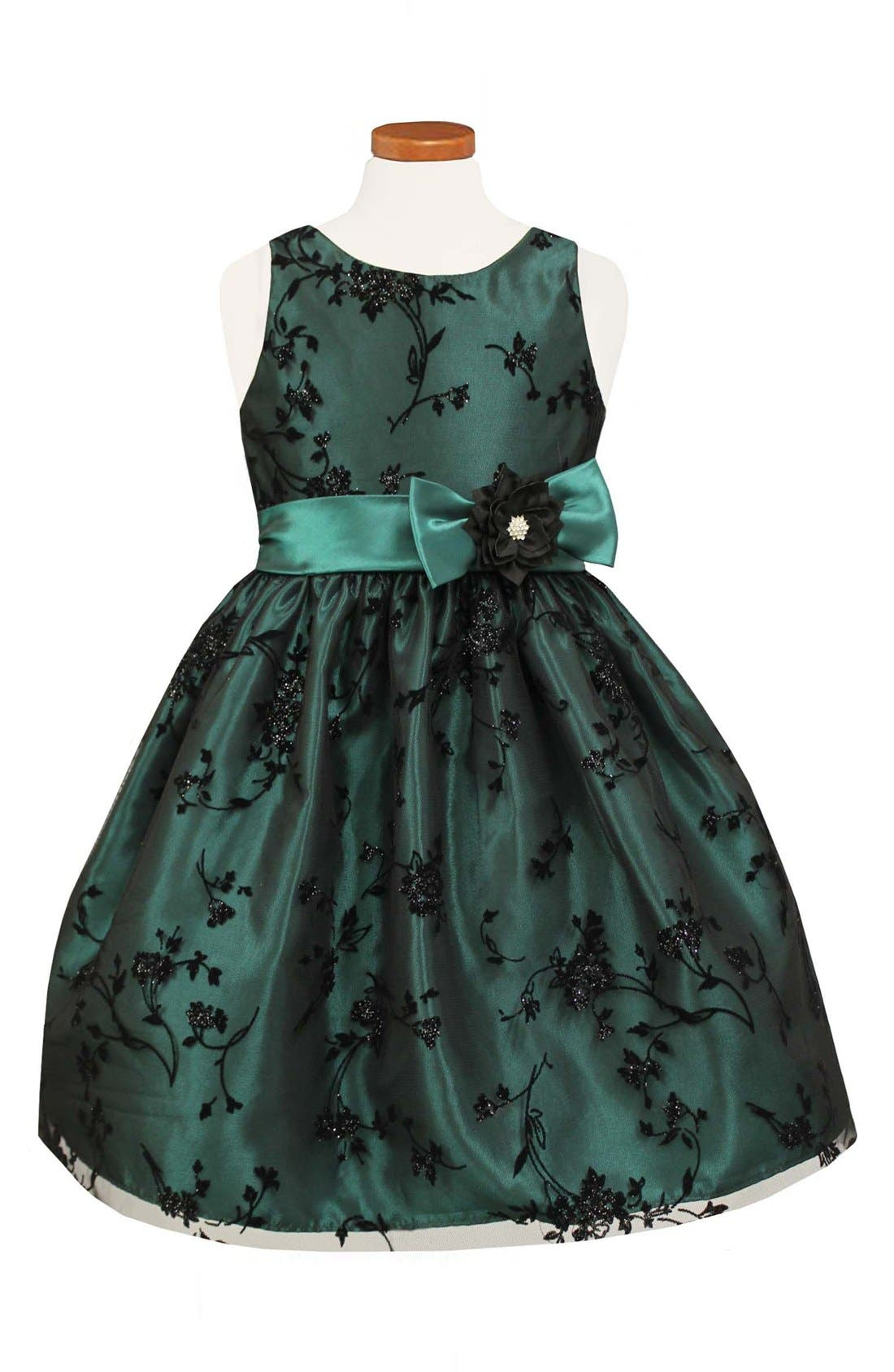 Taffeta Fit & Flare Dress,                         Main,                         color, Green