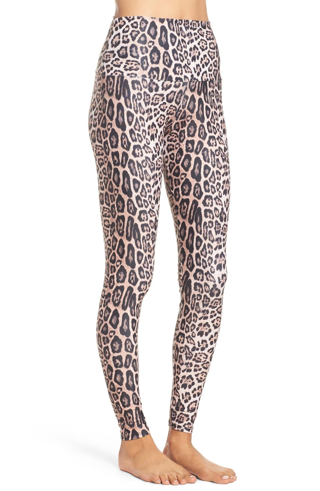 High Waist Leggings,                             Alternate thumbnail 8, color,                             Leopard