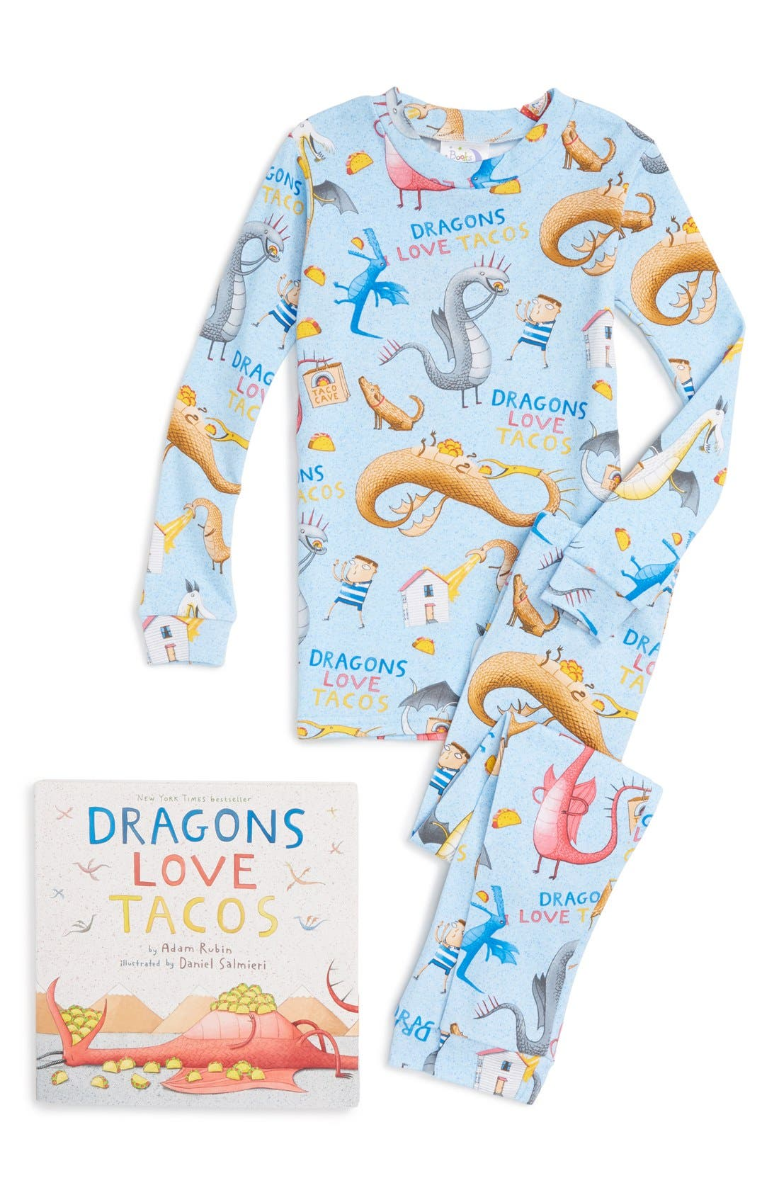 Dragons Love Tacos Fitted Two-Piece Pajamas & Book Set,                             Main thumbnail 1, color,                             Blue