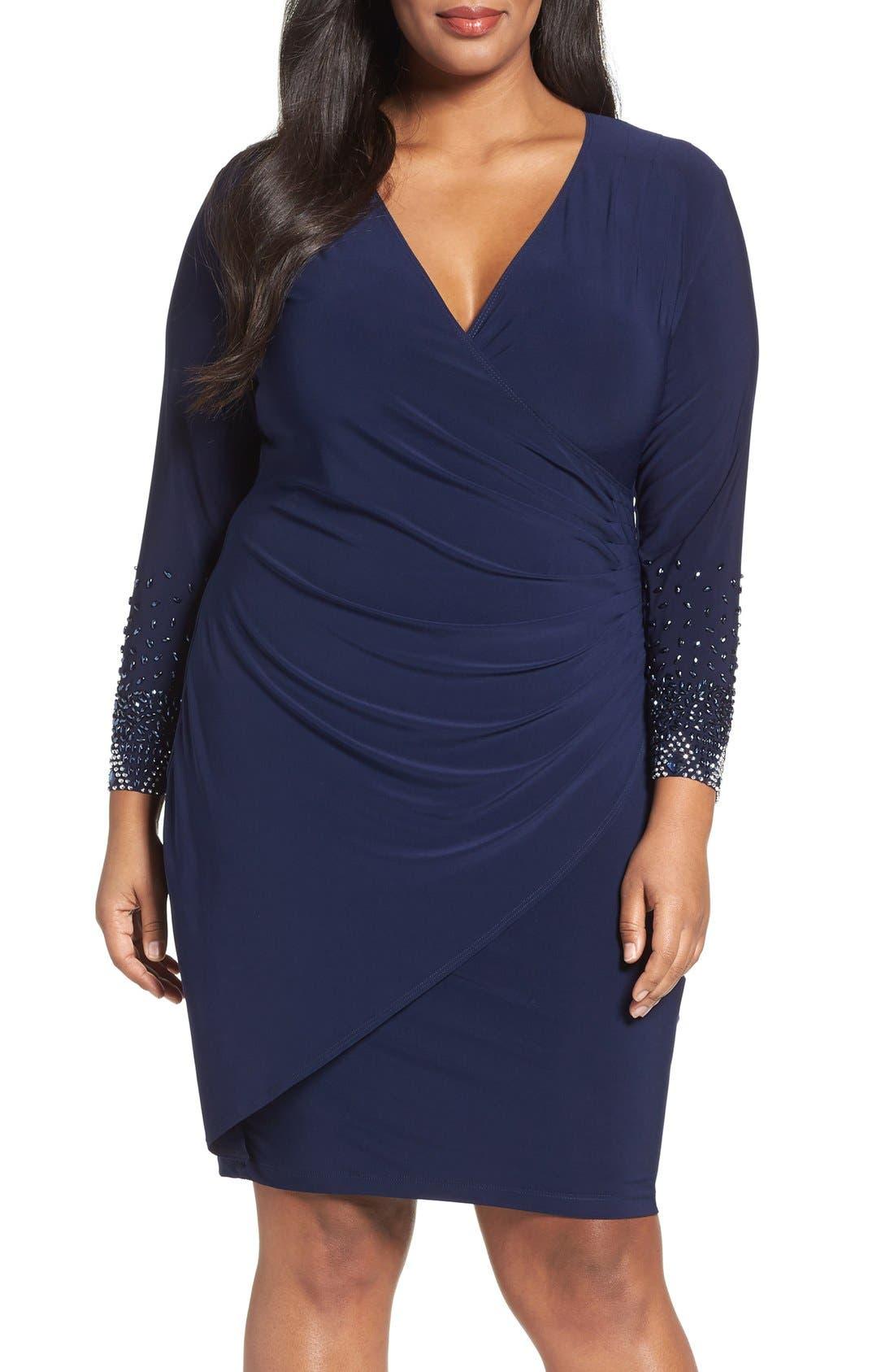 Main Image - Marina Embellished Faux Wrap Dress (Plus Size)