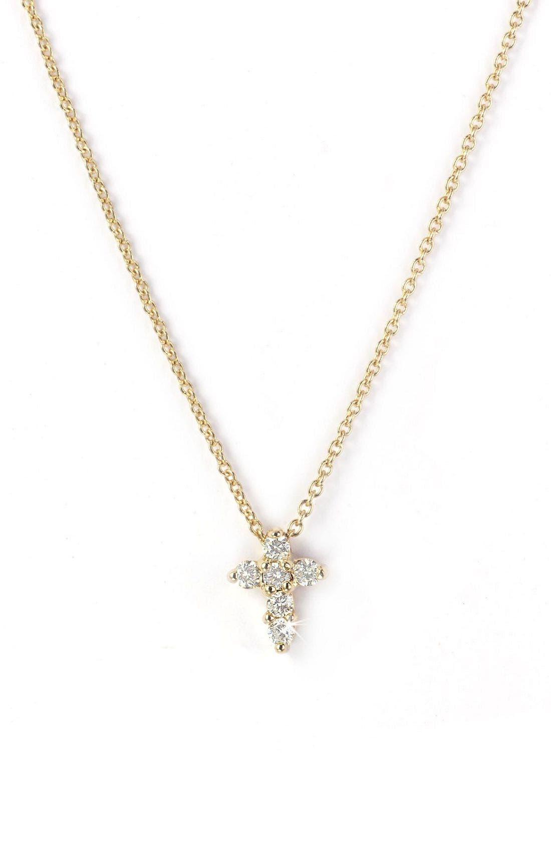 'Tiny Treasures' Diamond Cross Pendant Necklace,                         Main,                         color, Yellow Gold