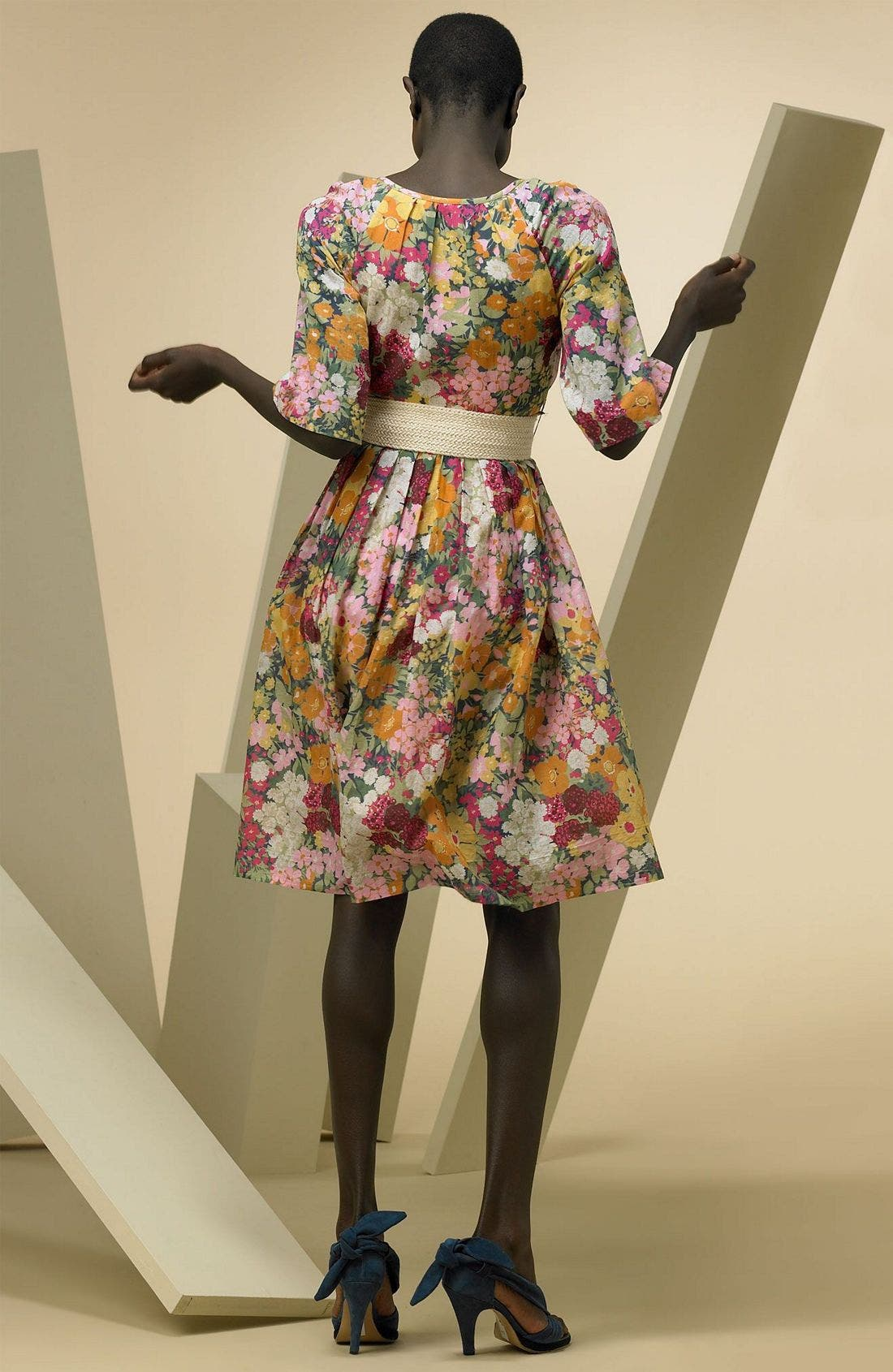 Print Dress with Bell Sleeves,                             Alternate thumbnail 2, color,                             Multi