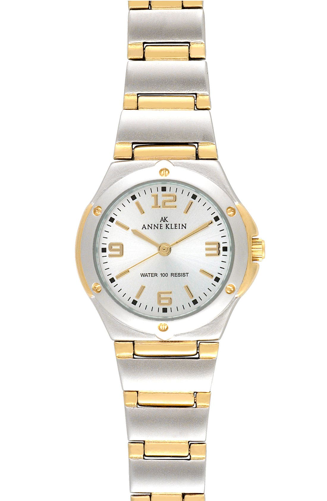 Alternate Image 1 Selected - Anne Klein Silver Dial Bracelet Watch, 25mm