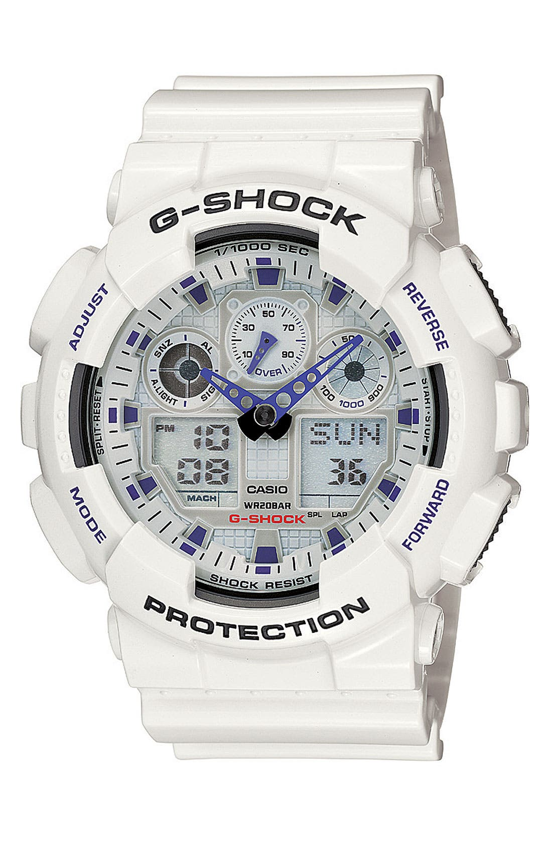 G-Shock 'Big Combi' Watch, 55mm x 51mm,                         Main,                         color, White