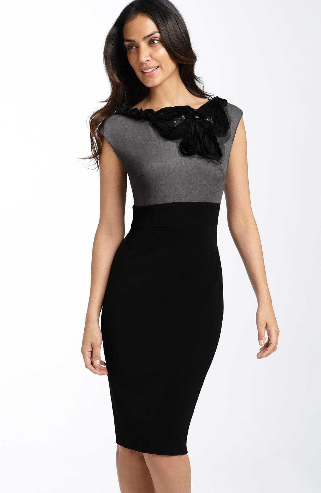 Main Image - Suzi Chin for Maggy Boutique Embellished Mock Two Piece Dress
