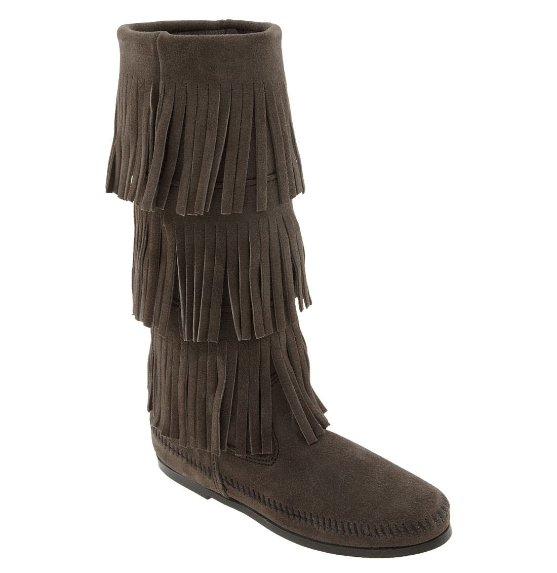3-Layer Fringe Boot,                         Main,                         color, Grey