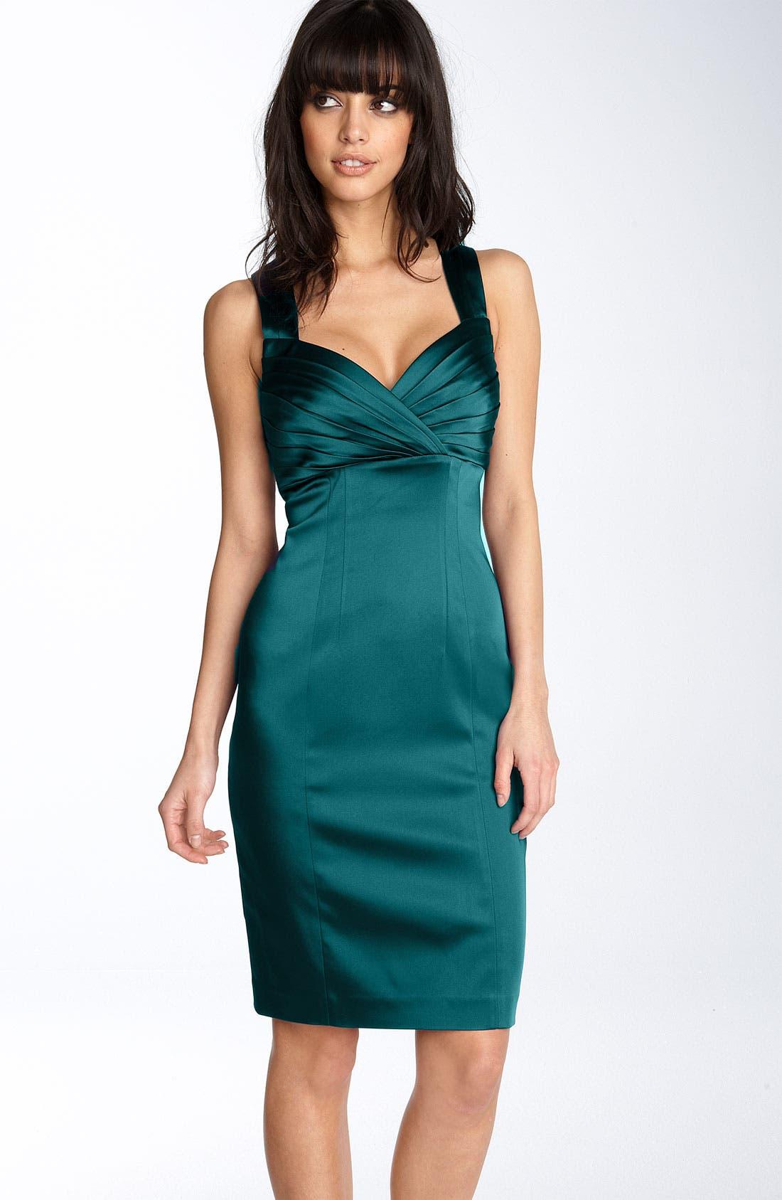 Alternate Image 1 Selected - Calvin Klein Pleated Bodice Stretch Satin Sheath Dress