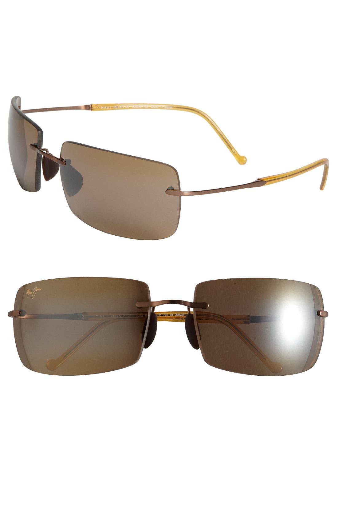 'Thousand Peaks - PolarizedPlus<sup>®</sup>2' Rimless Sunglasses,                         Main,                         color, Amber