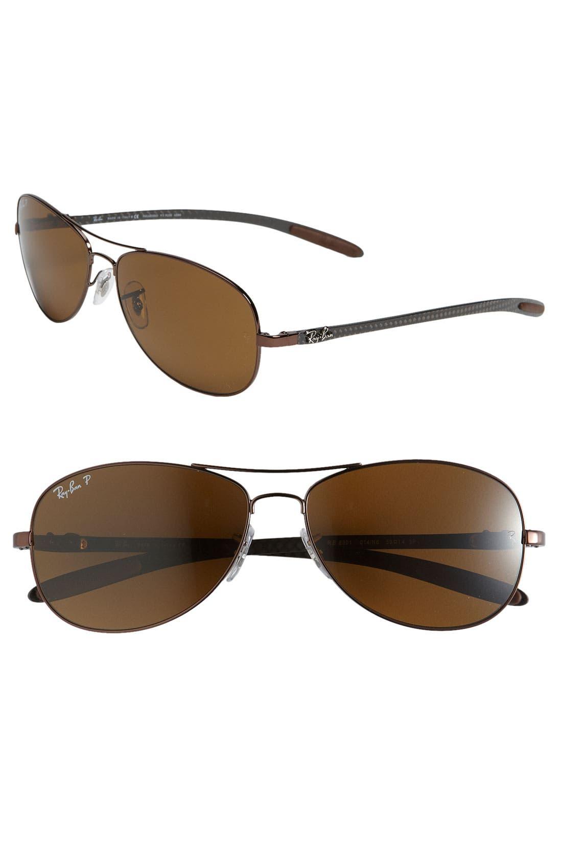 Main Image - Ray-Ban 'Tech' Polarized 59mm Aviator Sunglasses