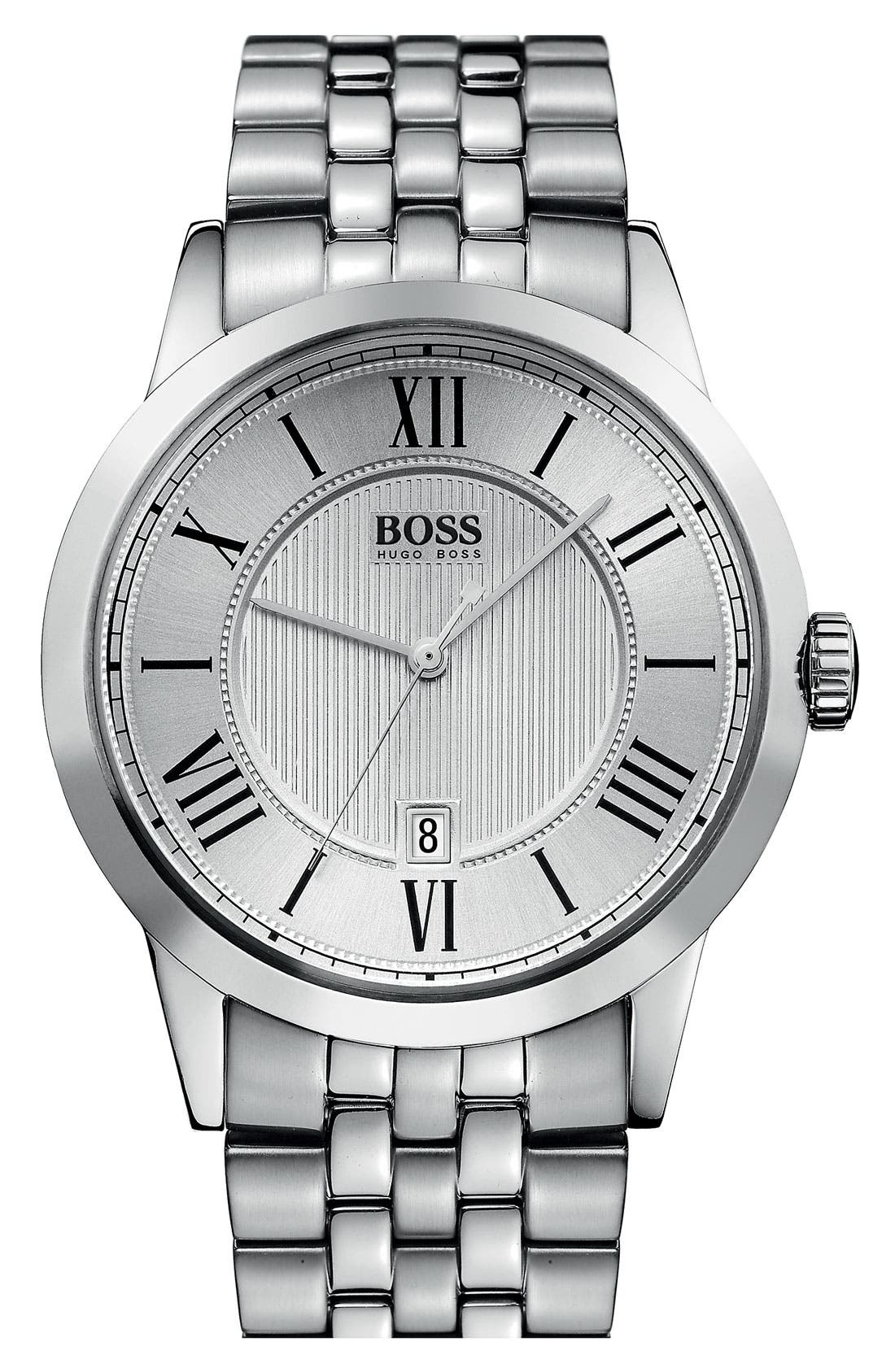 Main Image - BOSS HUGO BOSS Round Stainless Steel Bracelet Watch, 42mm