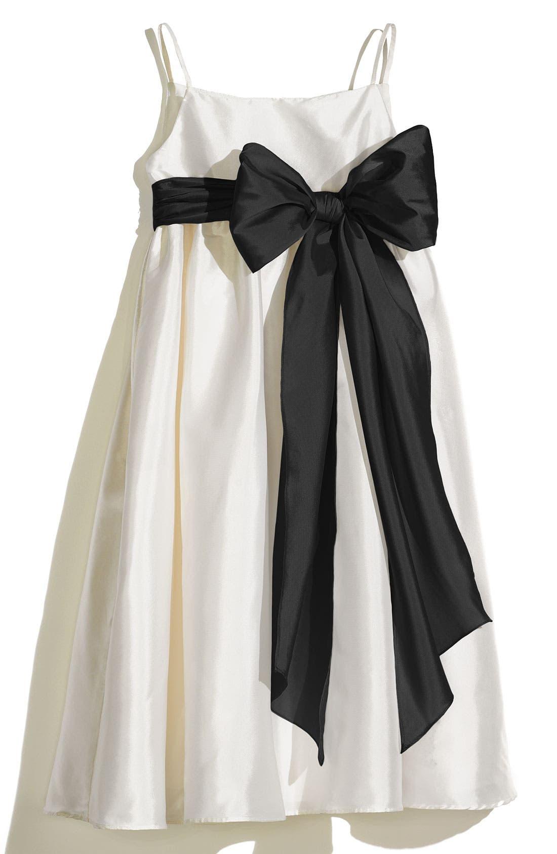 A-Line Dress with Sash,                             Main thumbnail 1, color,                             Ivory/ Black