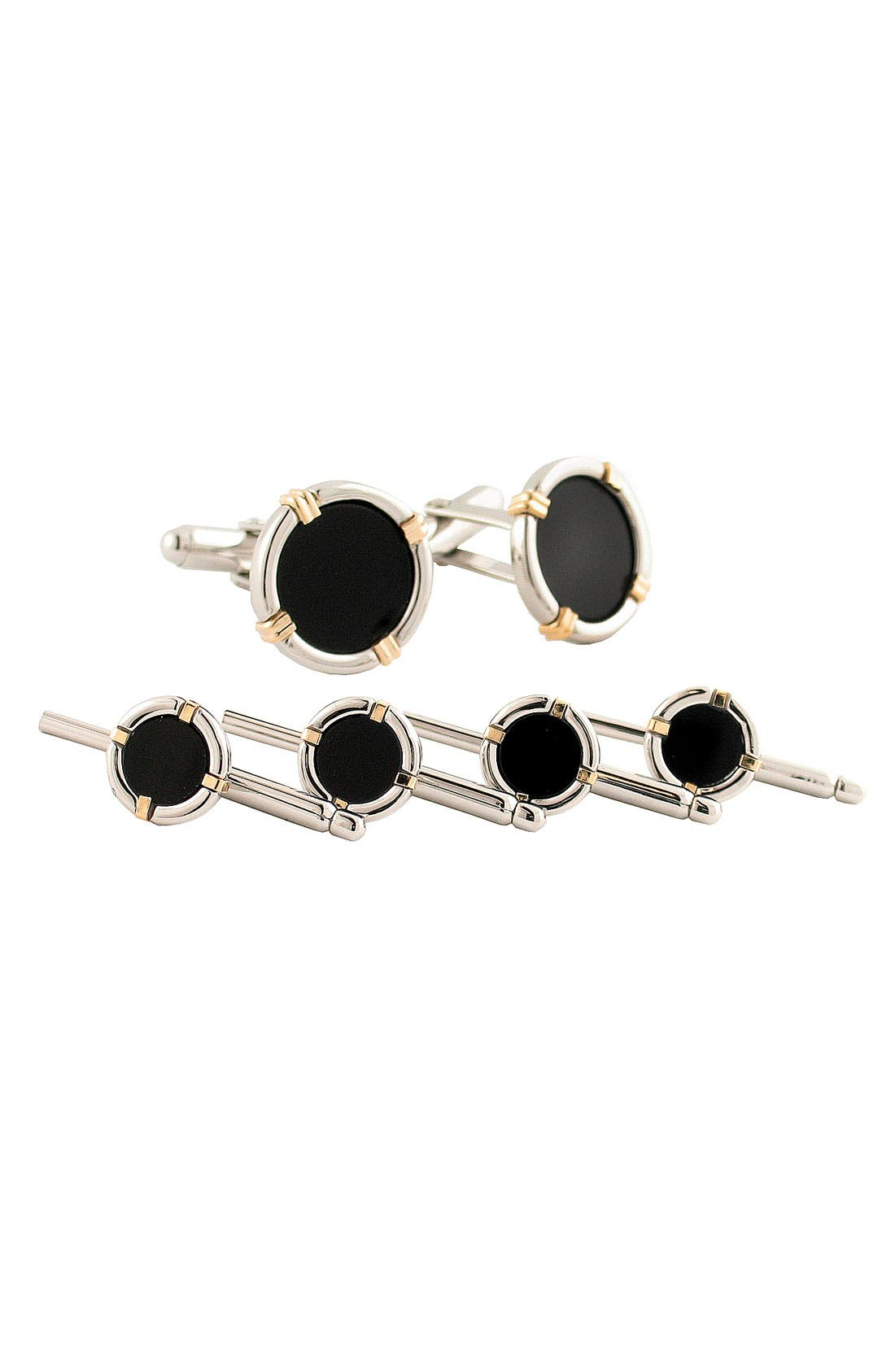 Inlaid Sterling Silver Cuff Link & Stud Set,                         Main,                         color, Silver/ Gold/ Wire Onyx
