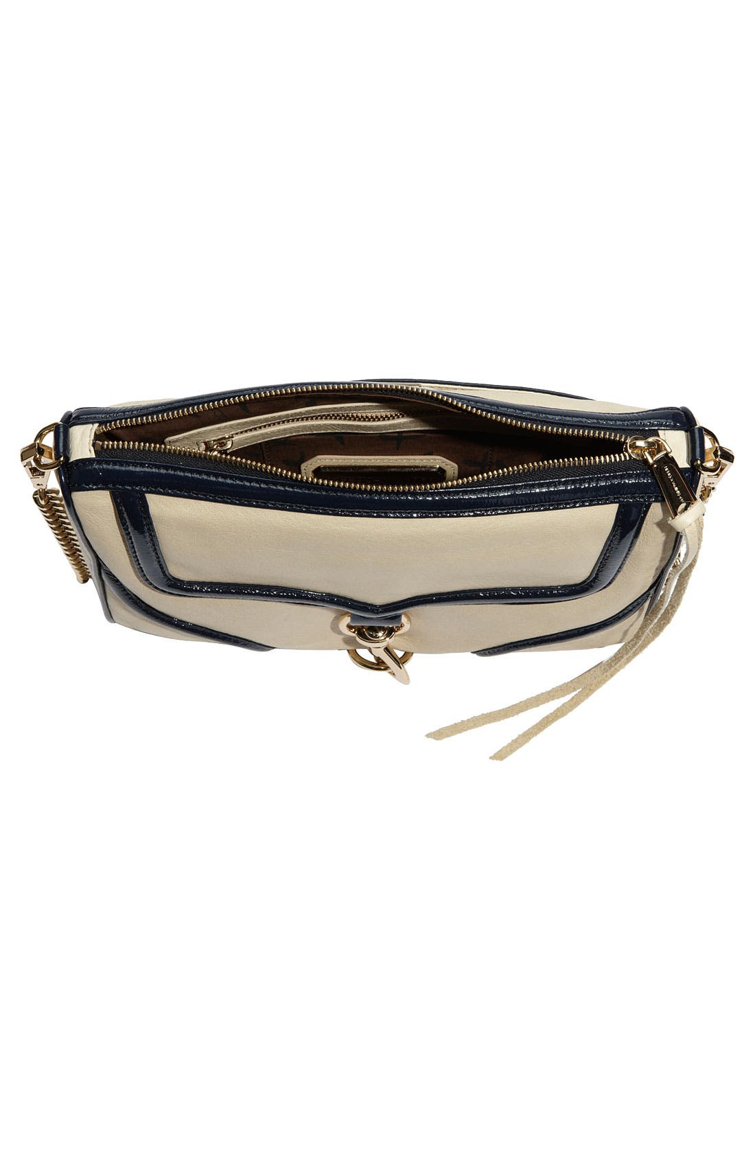 'Bombe MAC' Leather Crossbody Clutch,                             Alternate thumbnail 3, color,                             Ivory W/ Navy Trim