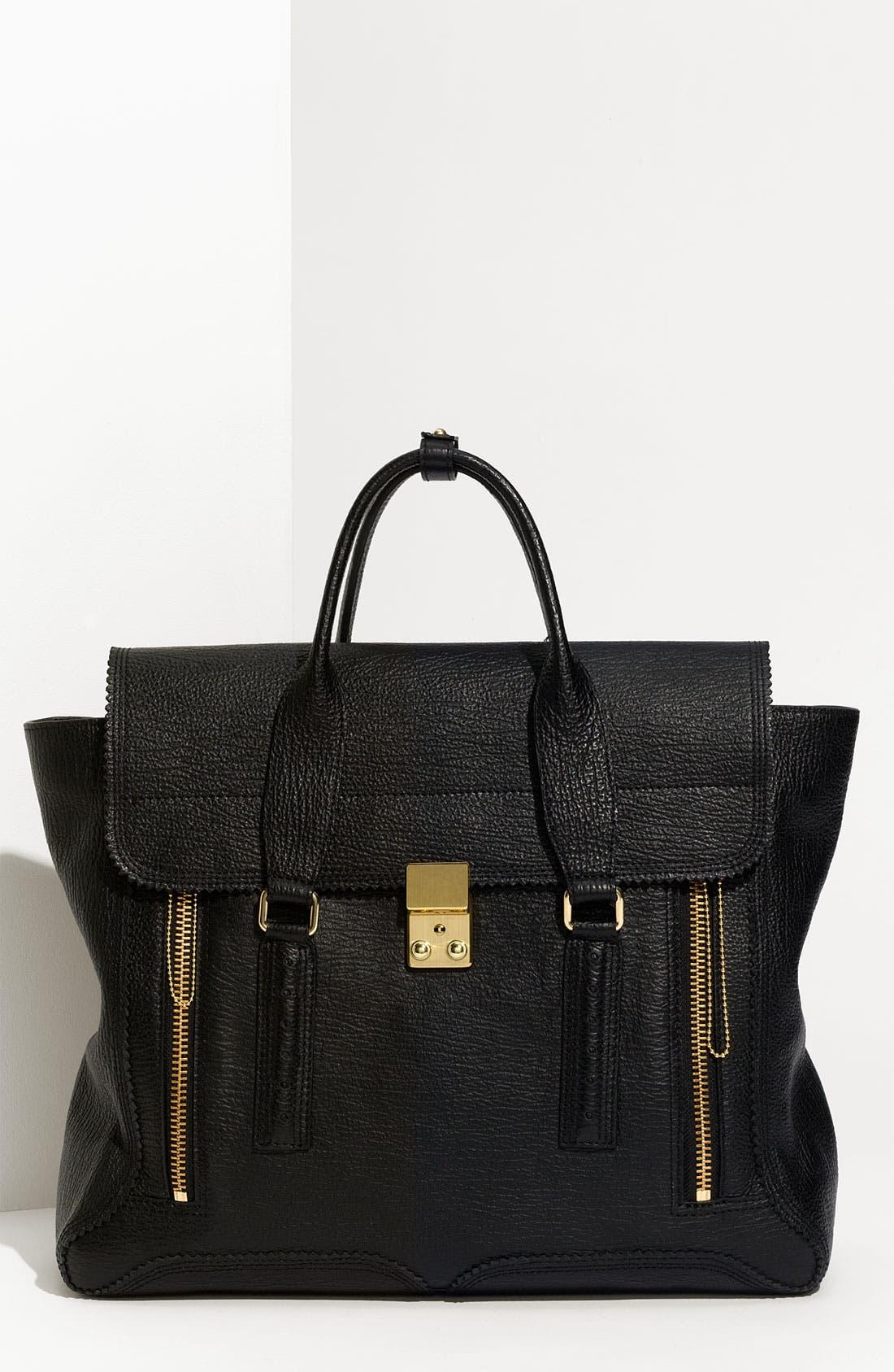 'Pashli' Leather Satchel,                         Main,                         color, Nero