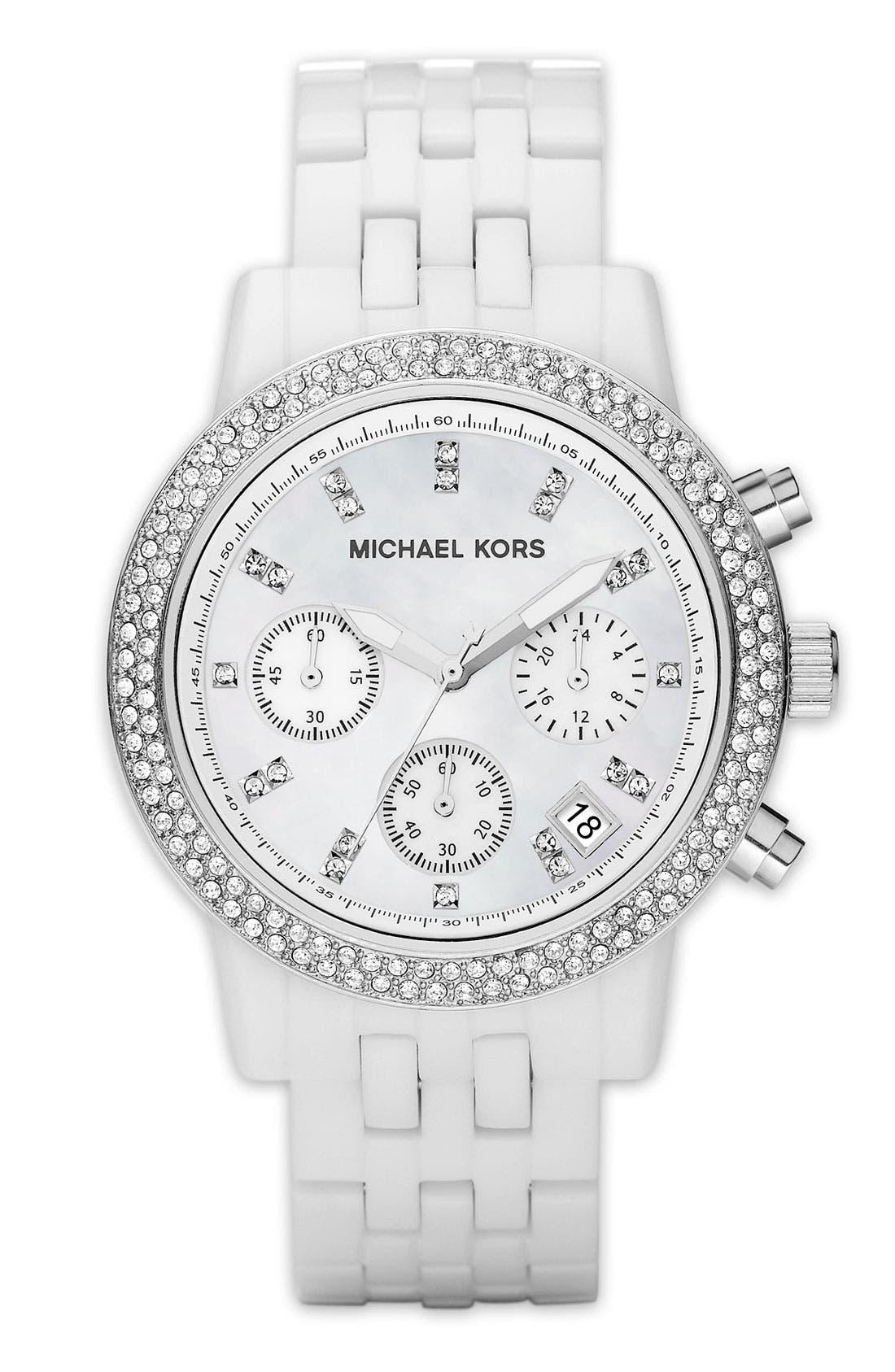 Alternate Image 1 Selected - Michael Kors Resin & Crystal Topring Watch