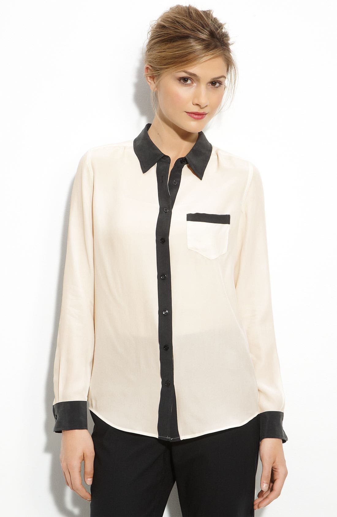 'Brett' Long Sleeve Shirt,                             Main thumbnail 1, color,                             Nature White/Black