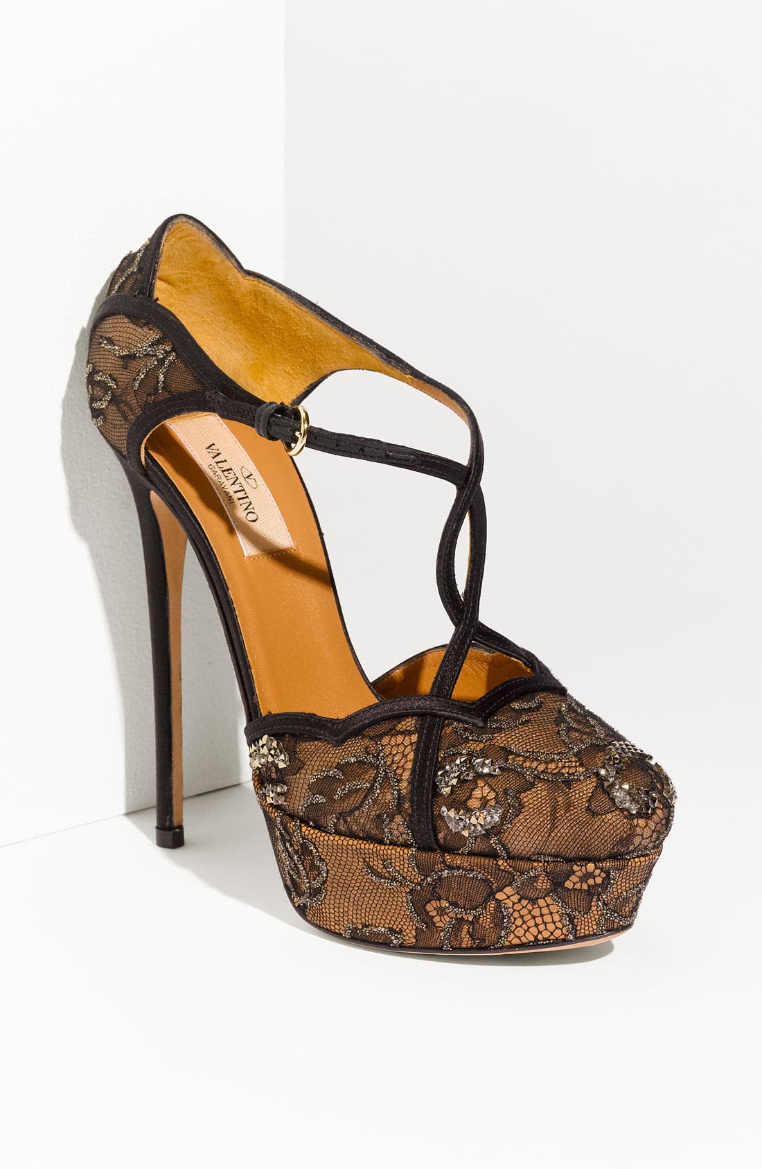 Main Image - VALENTINO GARAVANI Crystal Embellished Lace Sandal
