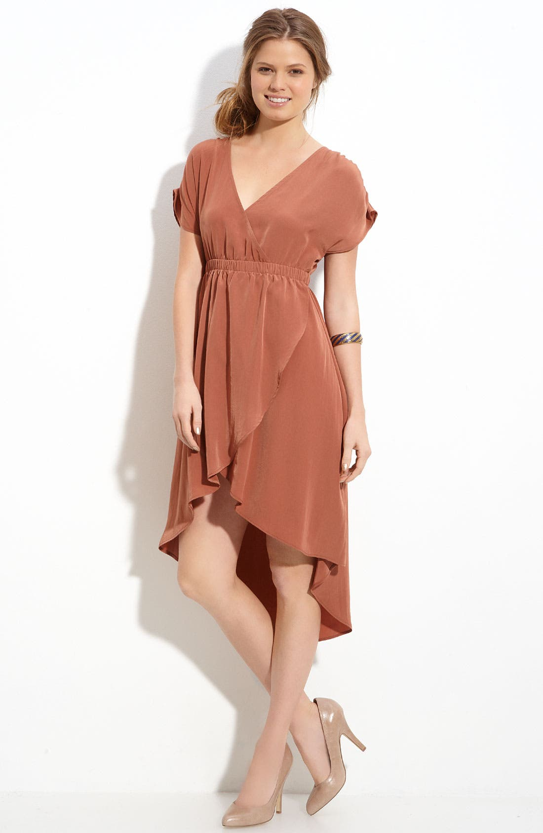 Alternate Image 1 Selected - Lush Crossover Asymmetric Hem Dress (Juniors)