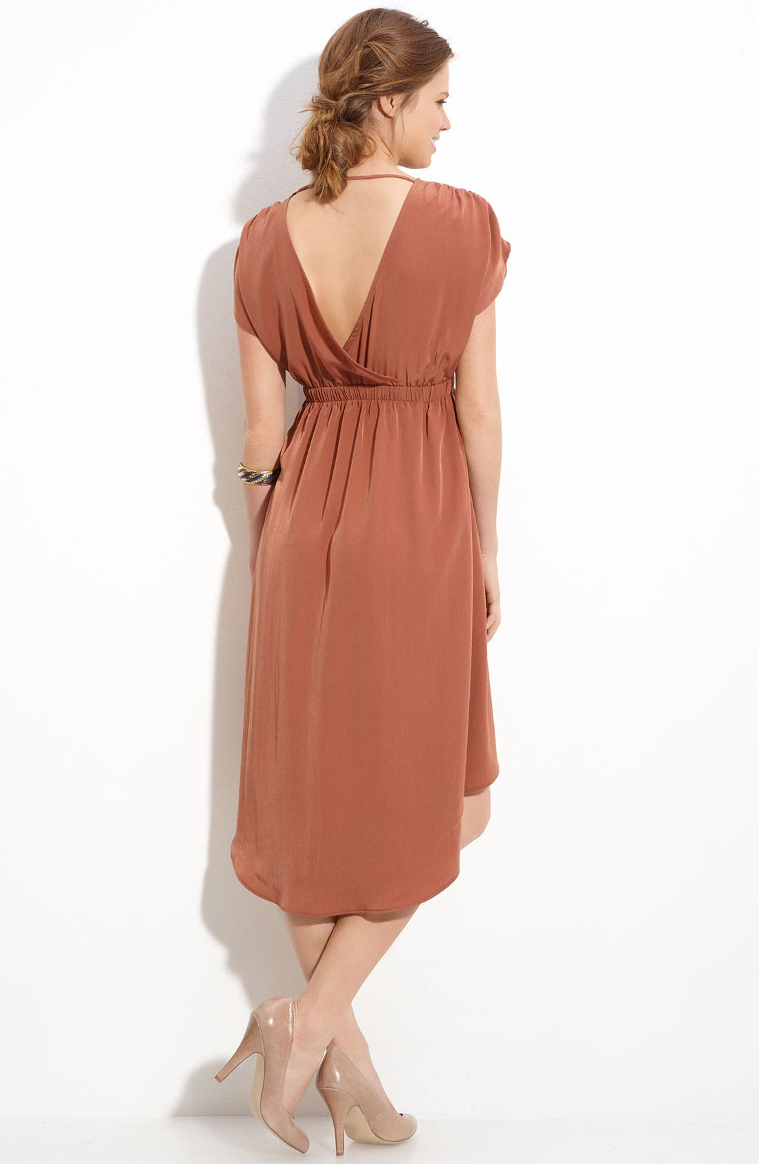 Alternate Image 2  - Lush Crossover Asymmetric Hem Dress (Juniors)