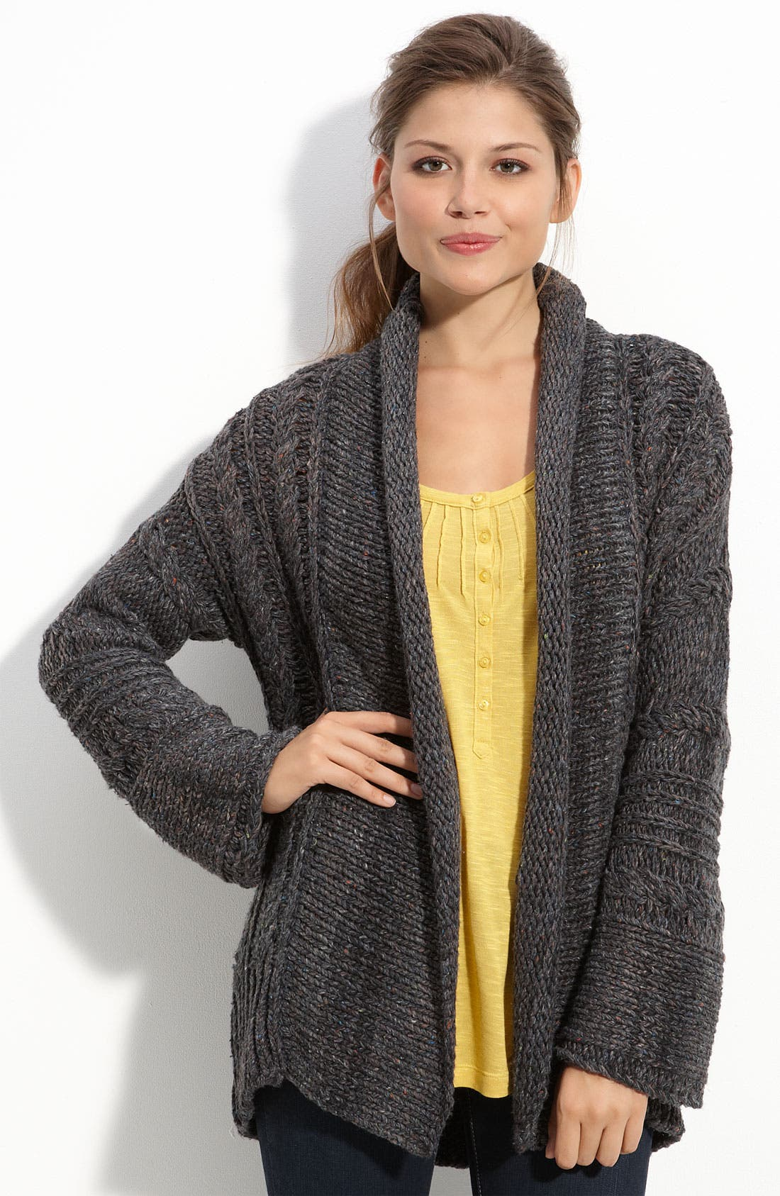 Main Image - Caslon® Open Front Cabled Cardigan