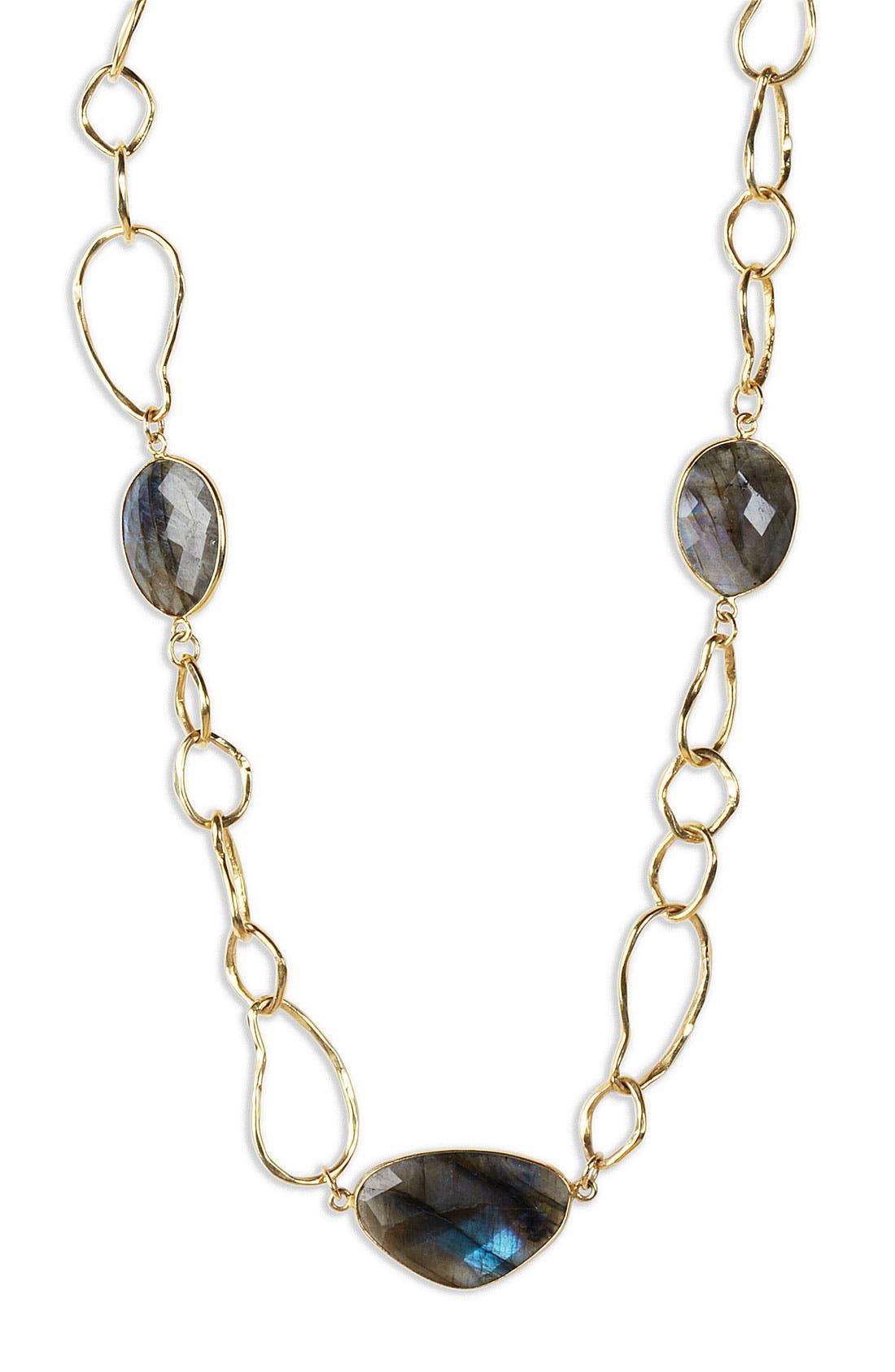 Alternate Image 1 Selected - Argento Vivo 'Waltzing Metal' Stone Station Link Necklace