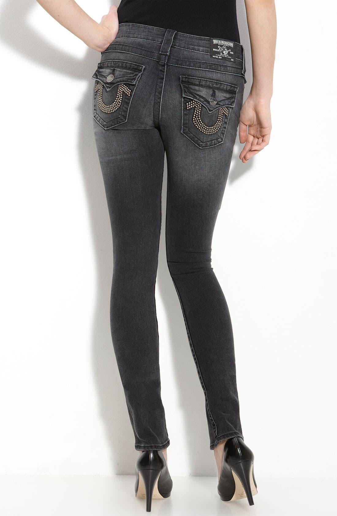 Alternate Image 1 Selected - True Religion Brand Jeans 'Julie' Skinny Stretch Jeans (Short Fuse Wash)