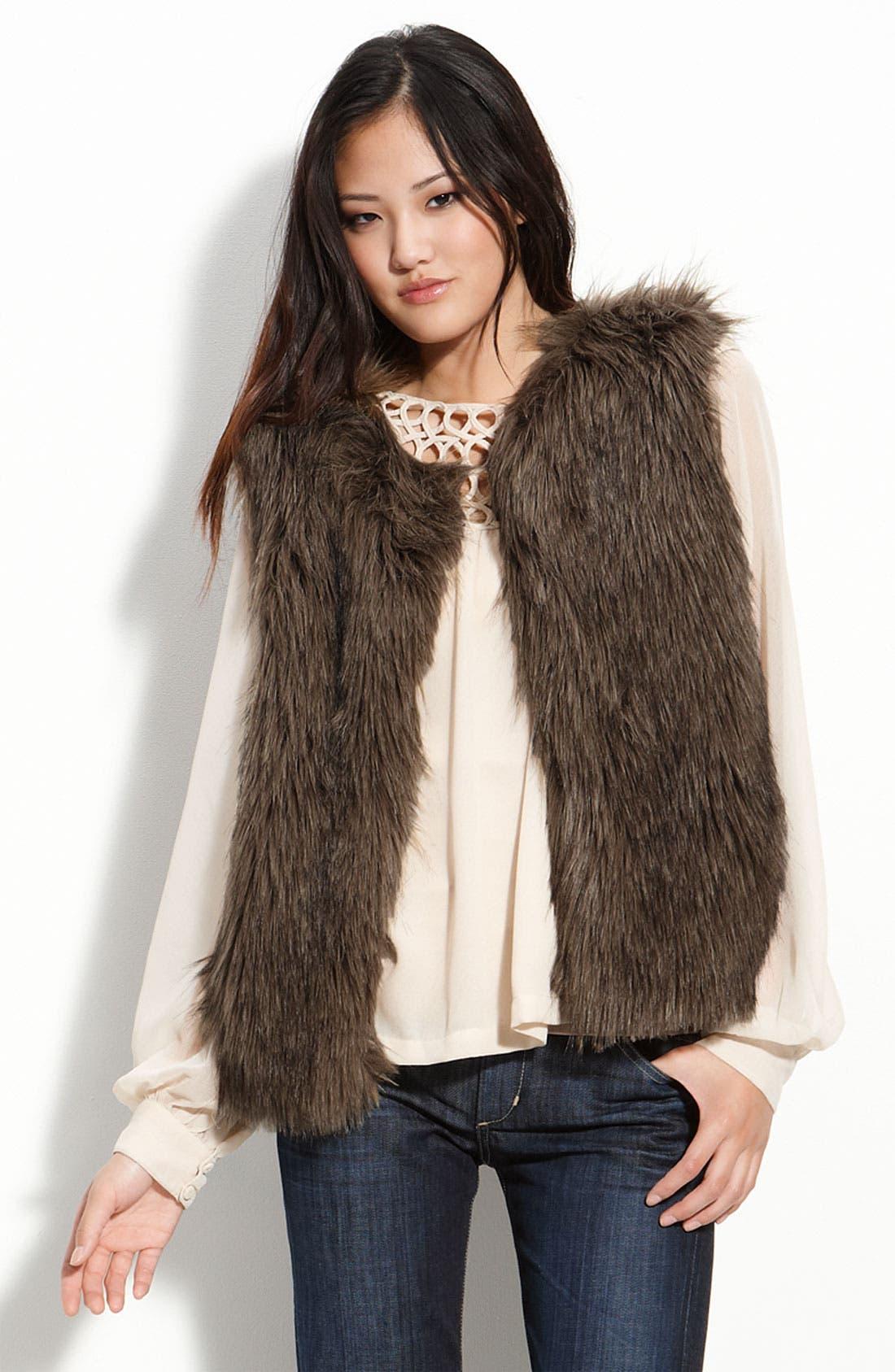 'Natalie' Faux Fur Vest,                             Main thumbnail 1, color,                             Ash Black