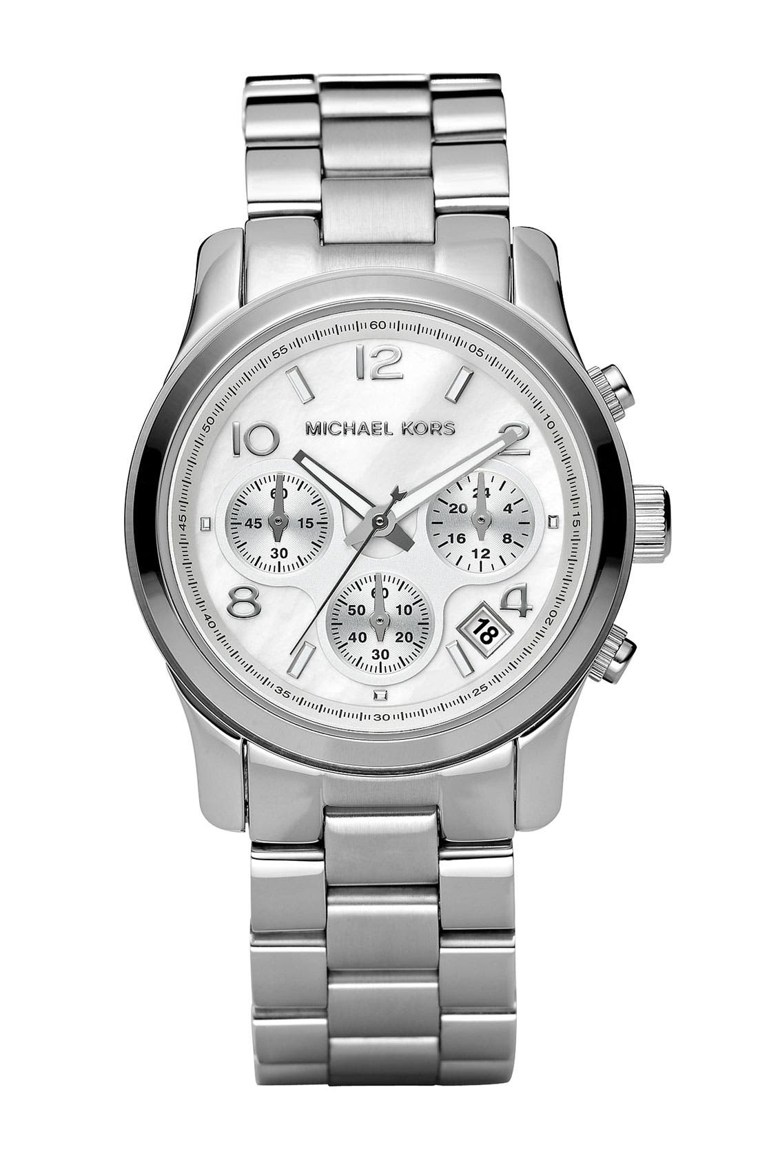 Alternate Image 1 Selected - Michael Kors 'Runway' Mother of Pearl Chronograph Watch, 38mm