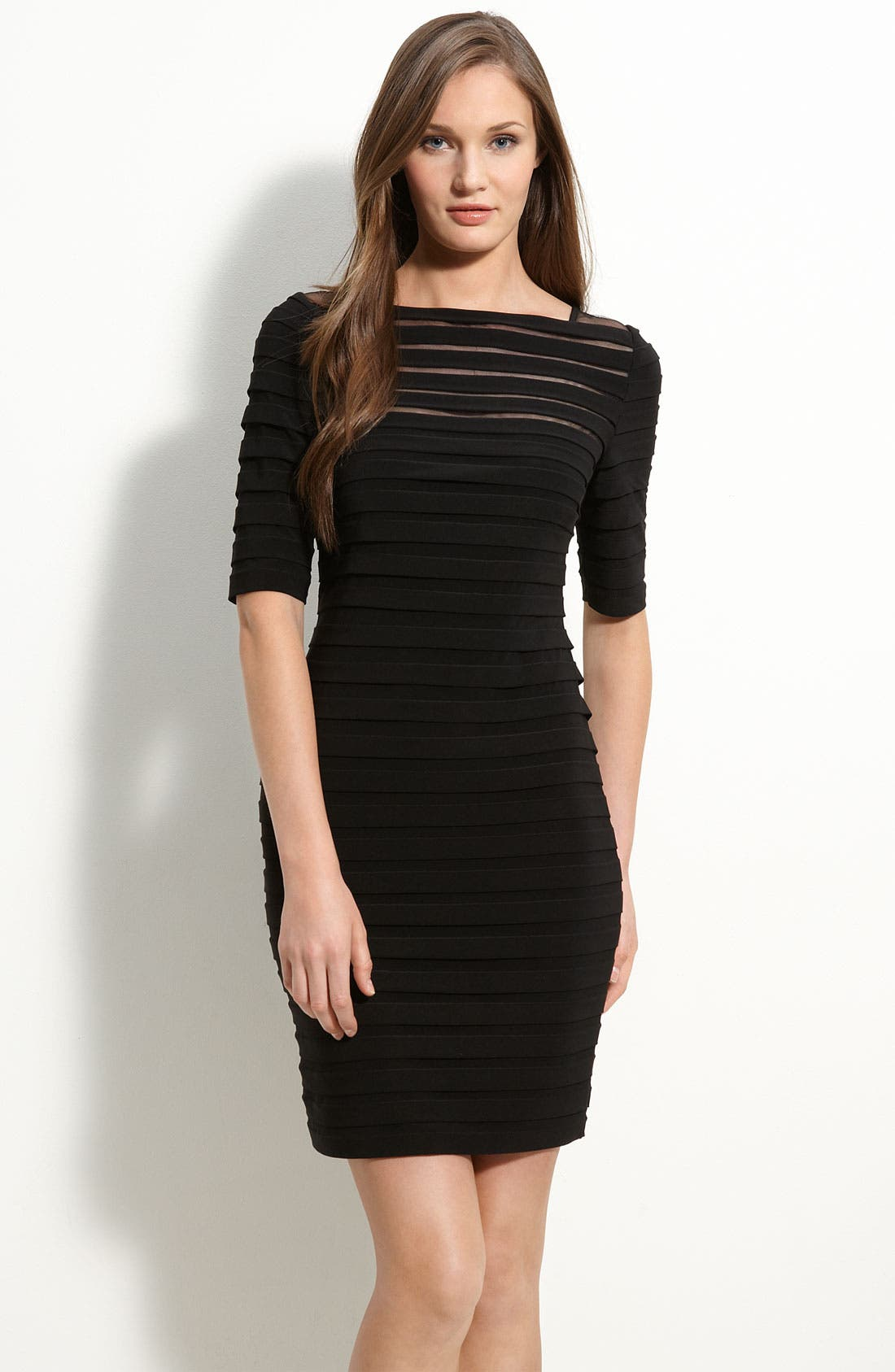 Alternate Image 1 Selected - Adrianna Papell Pleated Illusion Sheath Dress (Regular & Petite)
