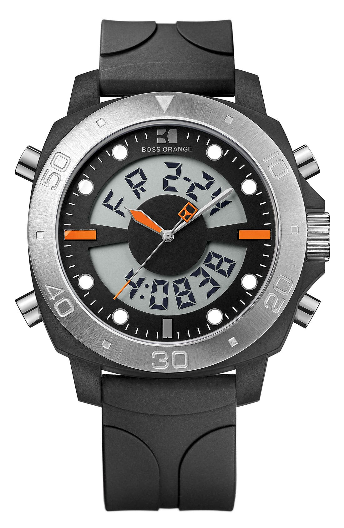 Alternate Image 1 Selected - BOSS Orange Dual Movement Rubber Strap Watch