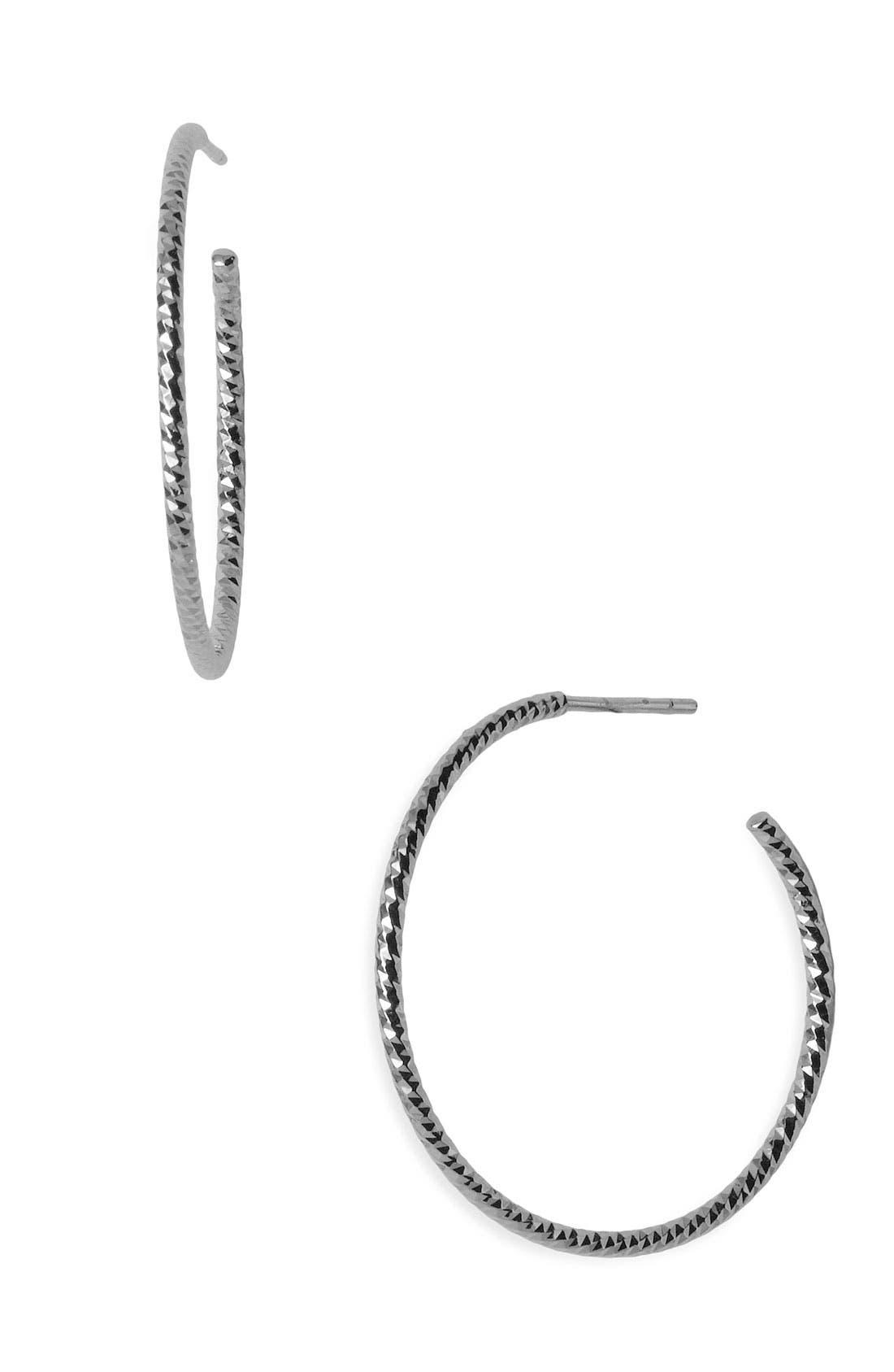 Textured Hoop Earrings,                             Main thumbnail 1, color,                             Sterling Silver