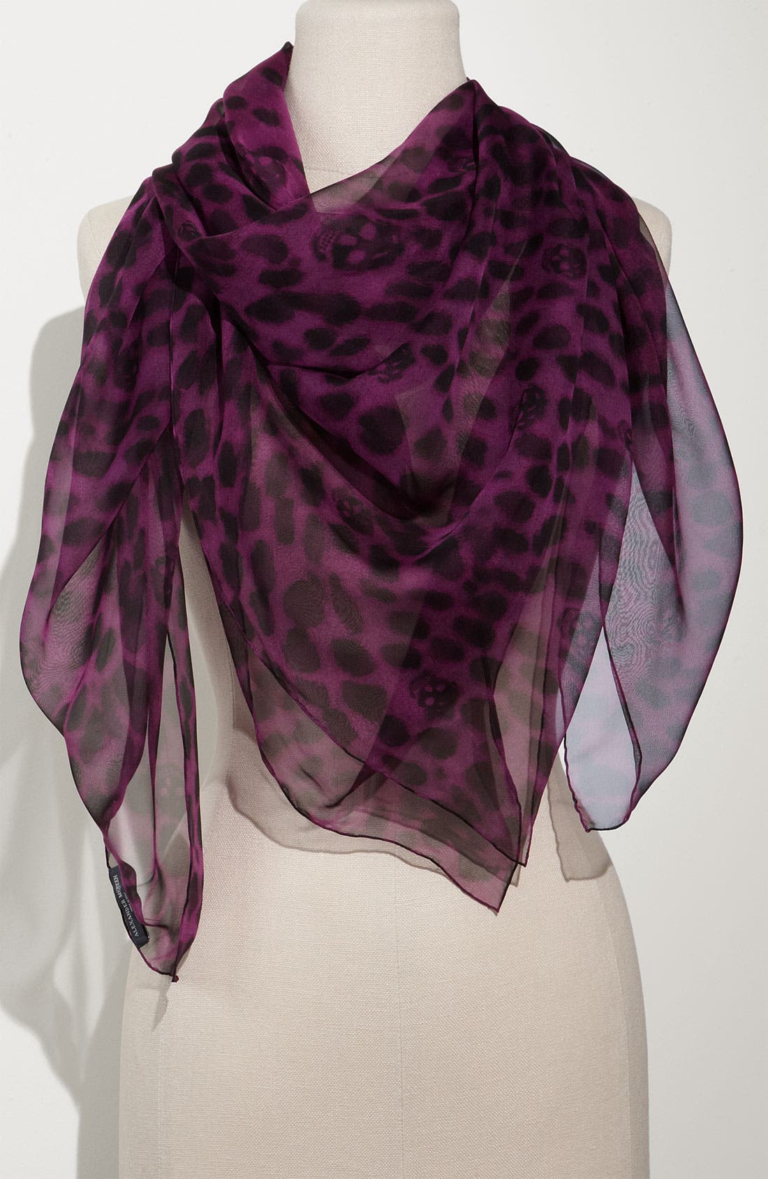 Alternate Image 1 Selected - Alexander McQueen 'Leopard Skull' Chiffon Scarf