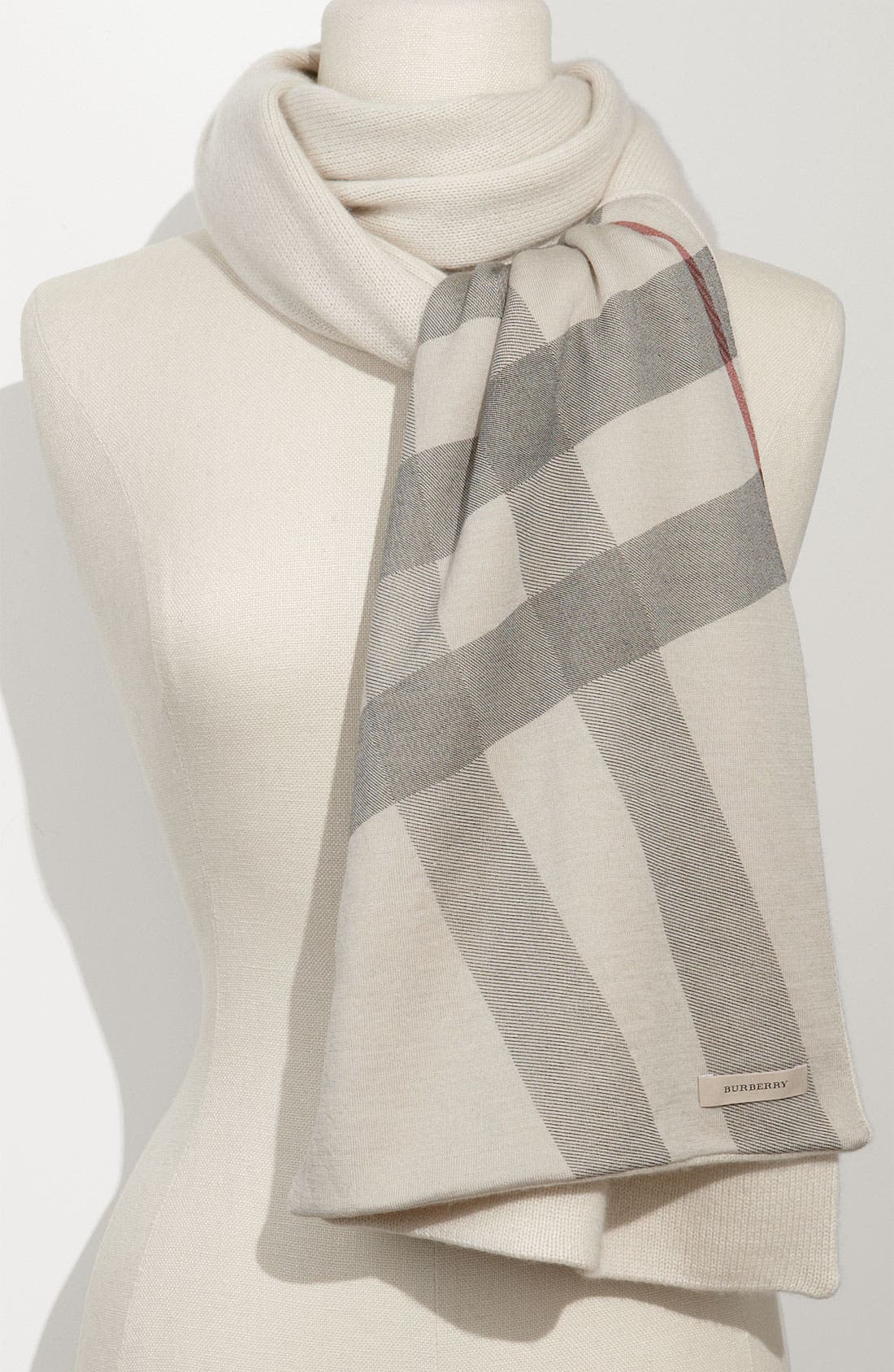 Main Image - Burberry Solid & Check Cashmere Scarf