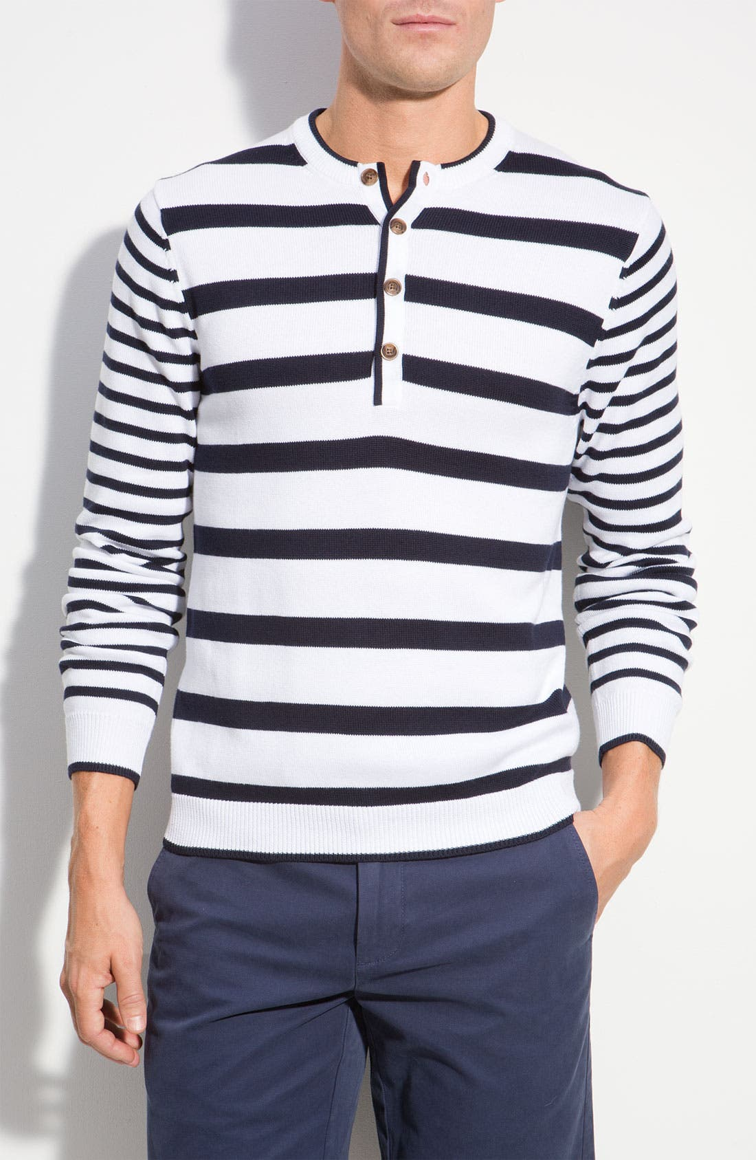 Main Image - Brooks Brothers Stripe Knit Henley