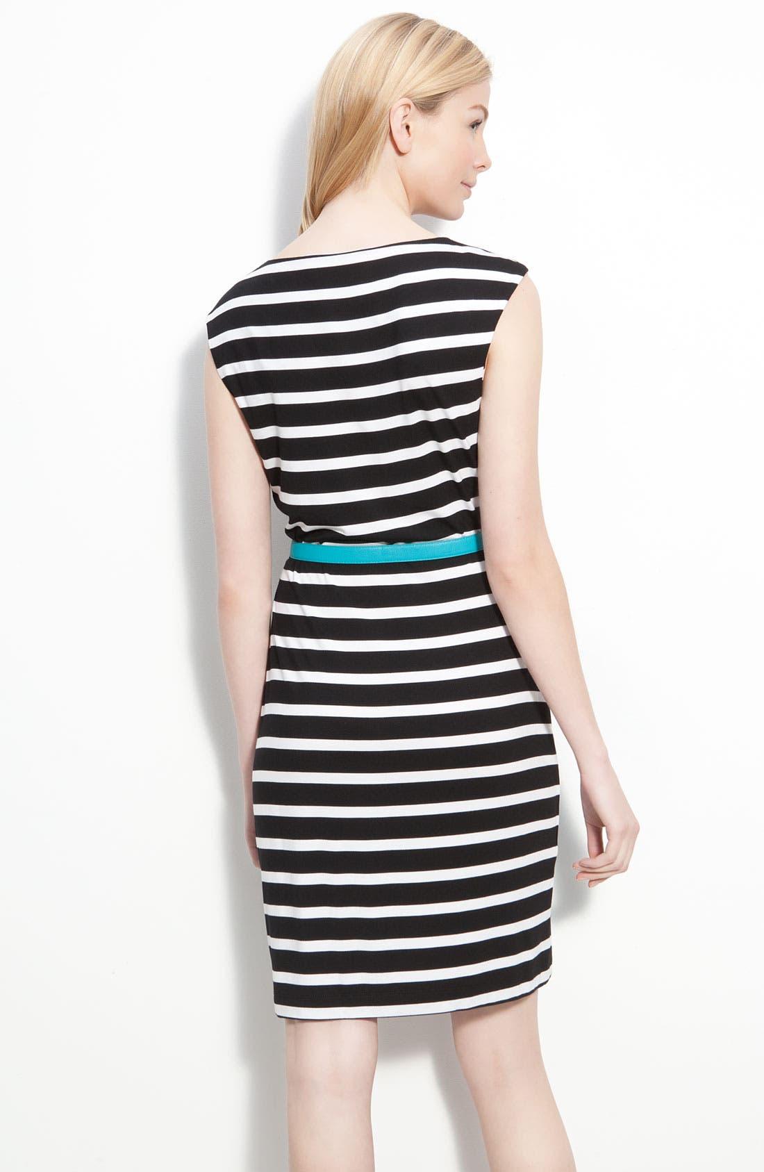 Alternate Image 2  - Calvin Klein Belted Cap Sleeve Jersey Sheath Dress