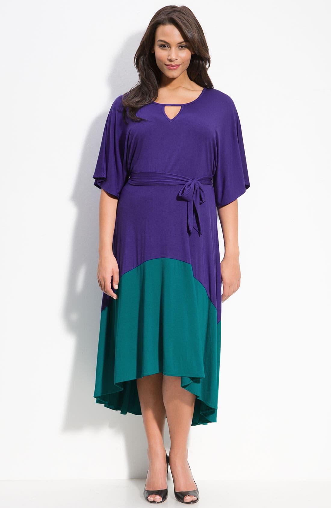 Main Image - Sejour Asymmetric Hem Colorblock Dress (Plus)