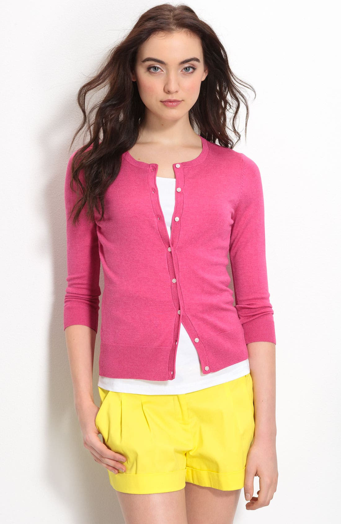 Alternate Image 1 Selected - Halogen® Three Quarter Sleeve Crewneck Cardigan