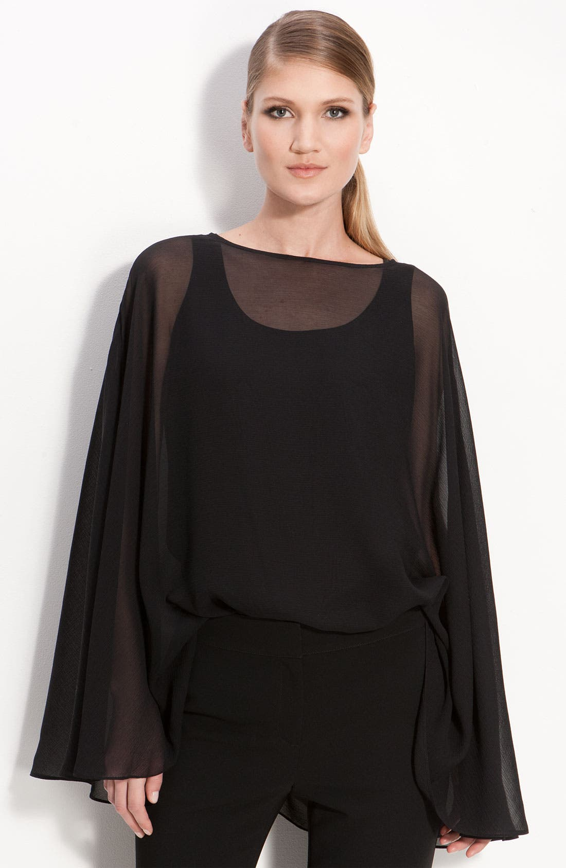 Alternate Image 1 Selected - St. John Collection Stretch Silk Georgette Poncho Top