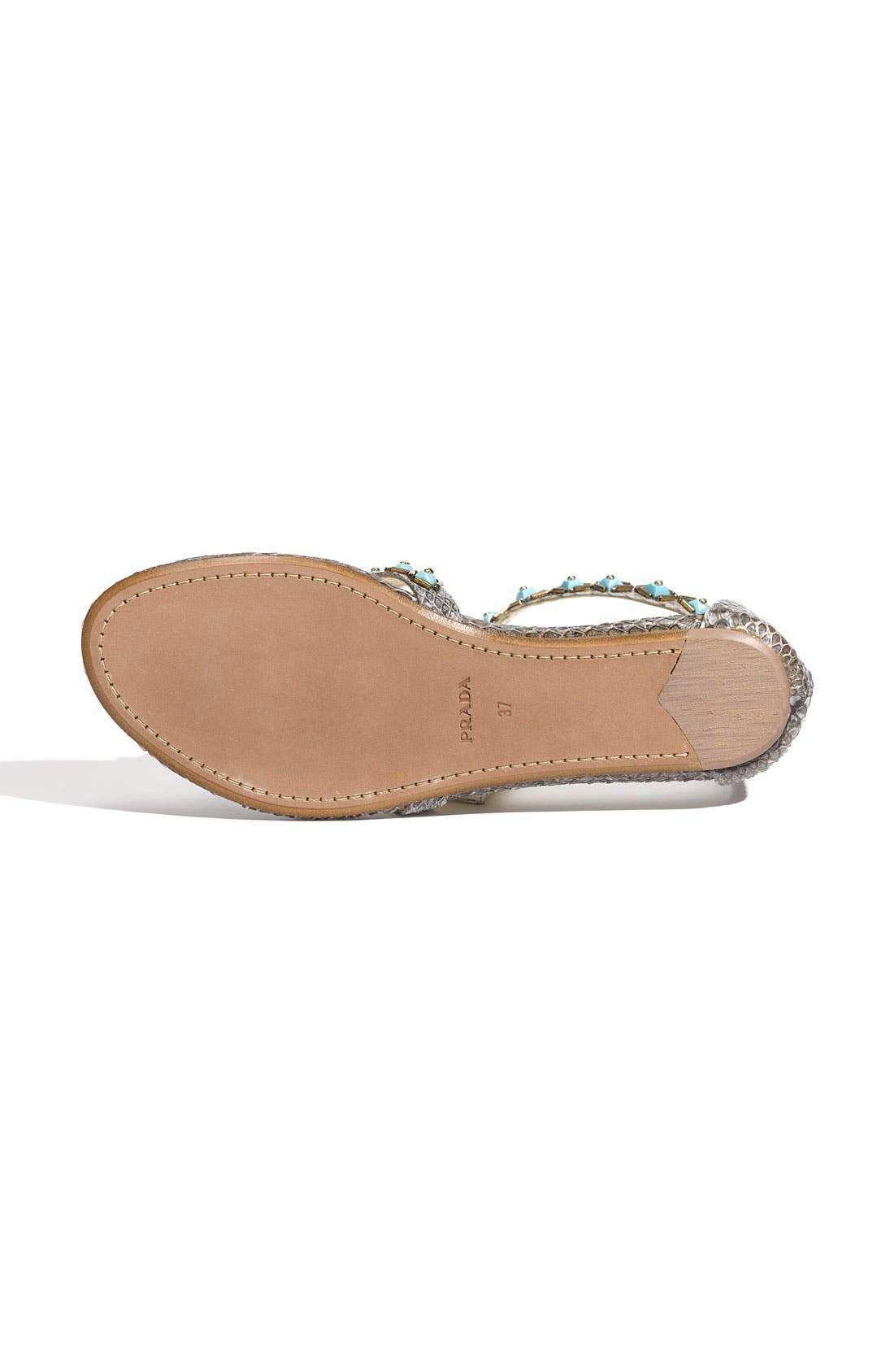 Alternate Image 4  - Prada Faux Turquoise Trim Genuine Snakeskin Sandal