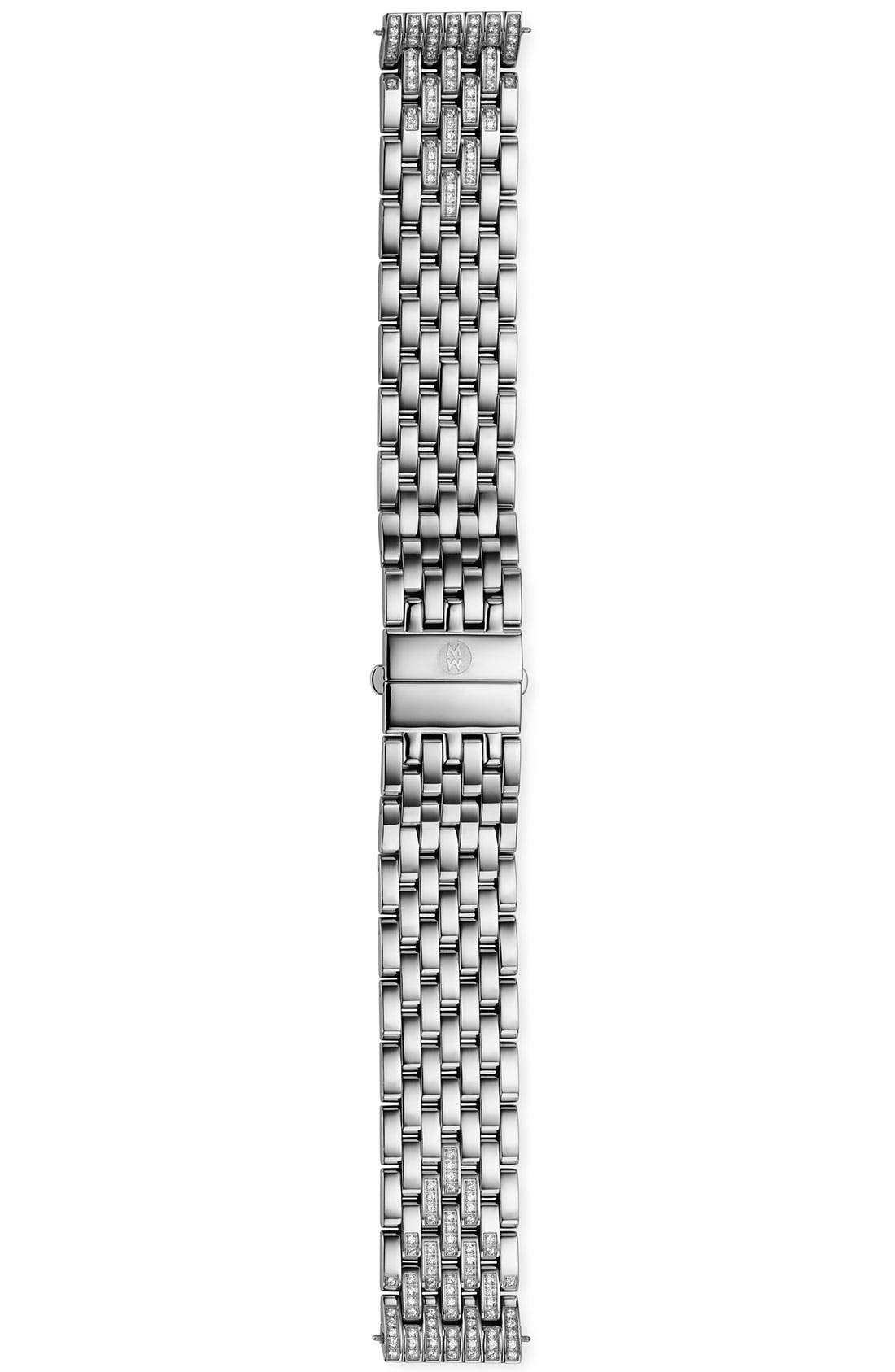 'Deco' 18mm Diamond Bracelet Band,                             Alternate thumbnail 3, color,                             Silver