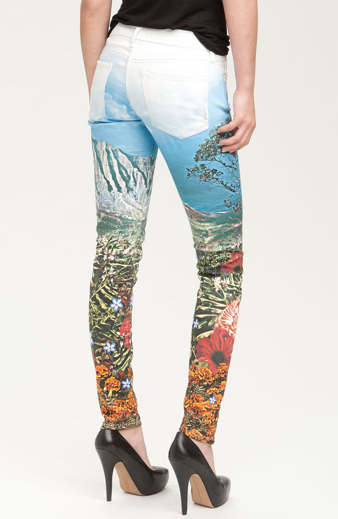 Alternate Image 2  - MOTHER 'The Looker' Print Skinny Stretch Denim Jeans