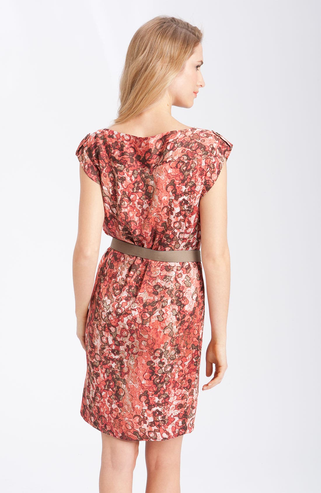 'Watermark Print' Belted Dress,                             Alternate thumbnail 2, color,                             Coral