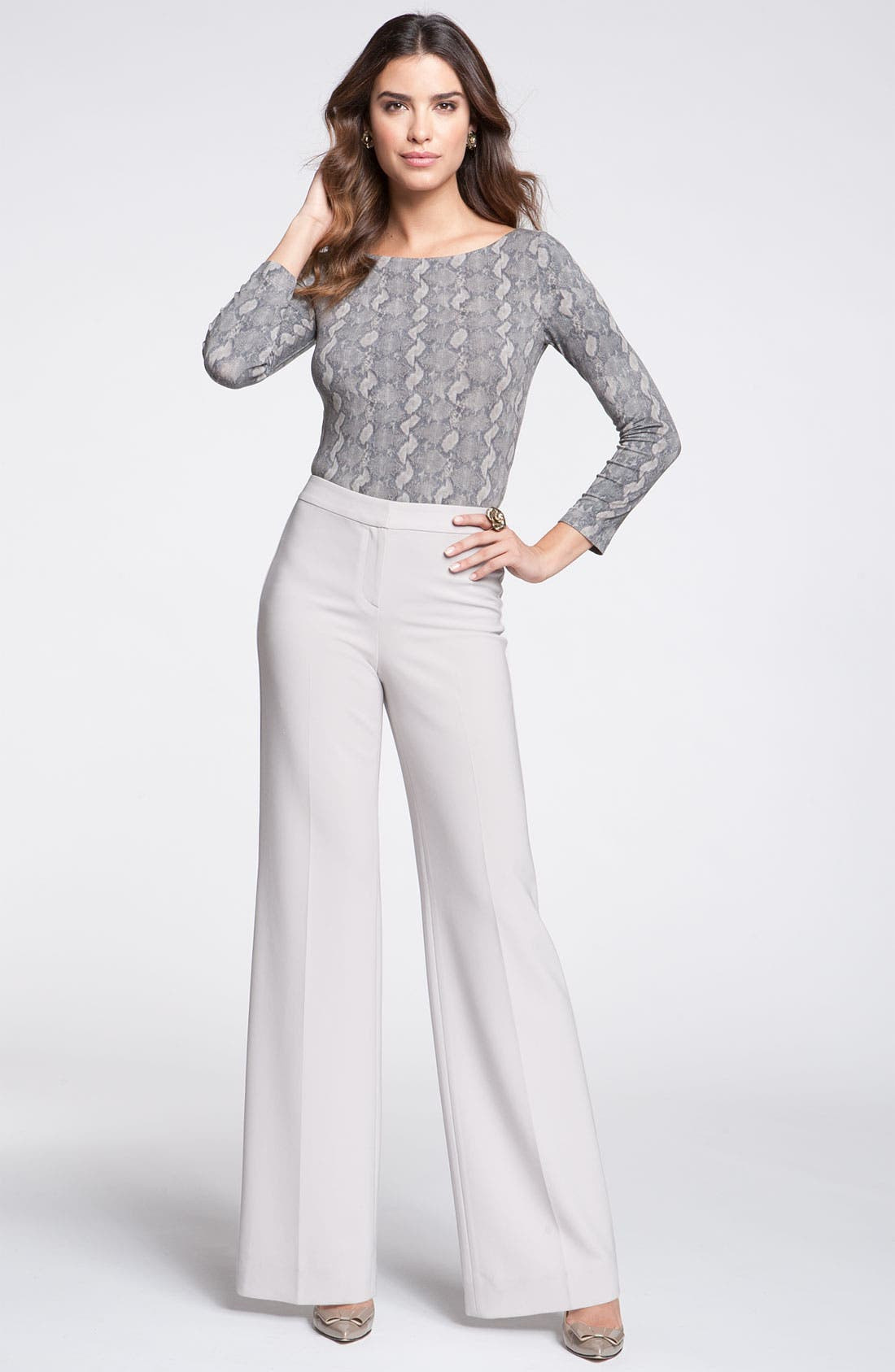 Main Image - St. John Collection Crepe Marocain Wide Leg Pants