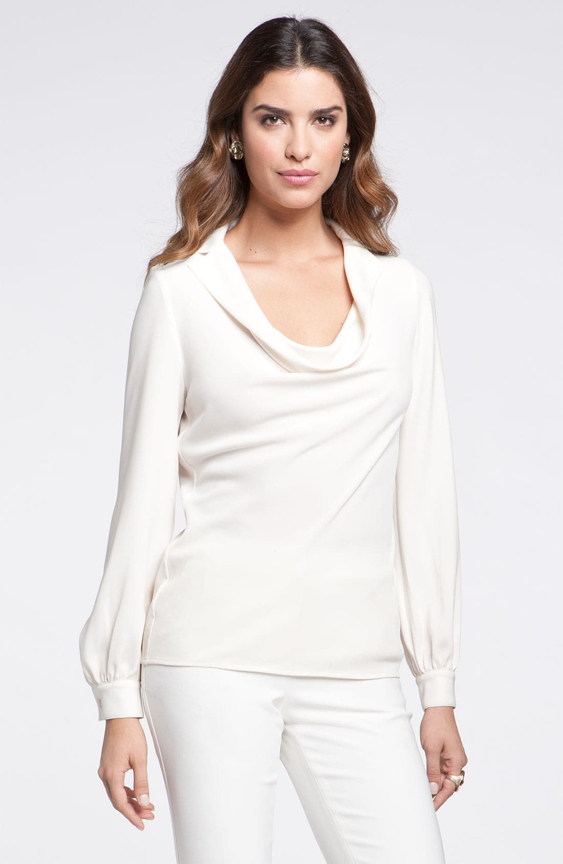 Alternate Image 1 Selected - St. John Collection Cowl Notch Collar Blouse