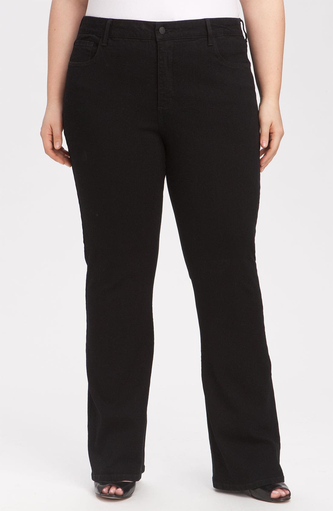 Alternate Image 1 Selected - NYDJ 'Barbara' Stretch Bootcut Jeans (Black) (Plus Size & Petite Plus)