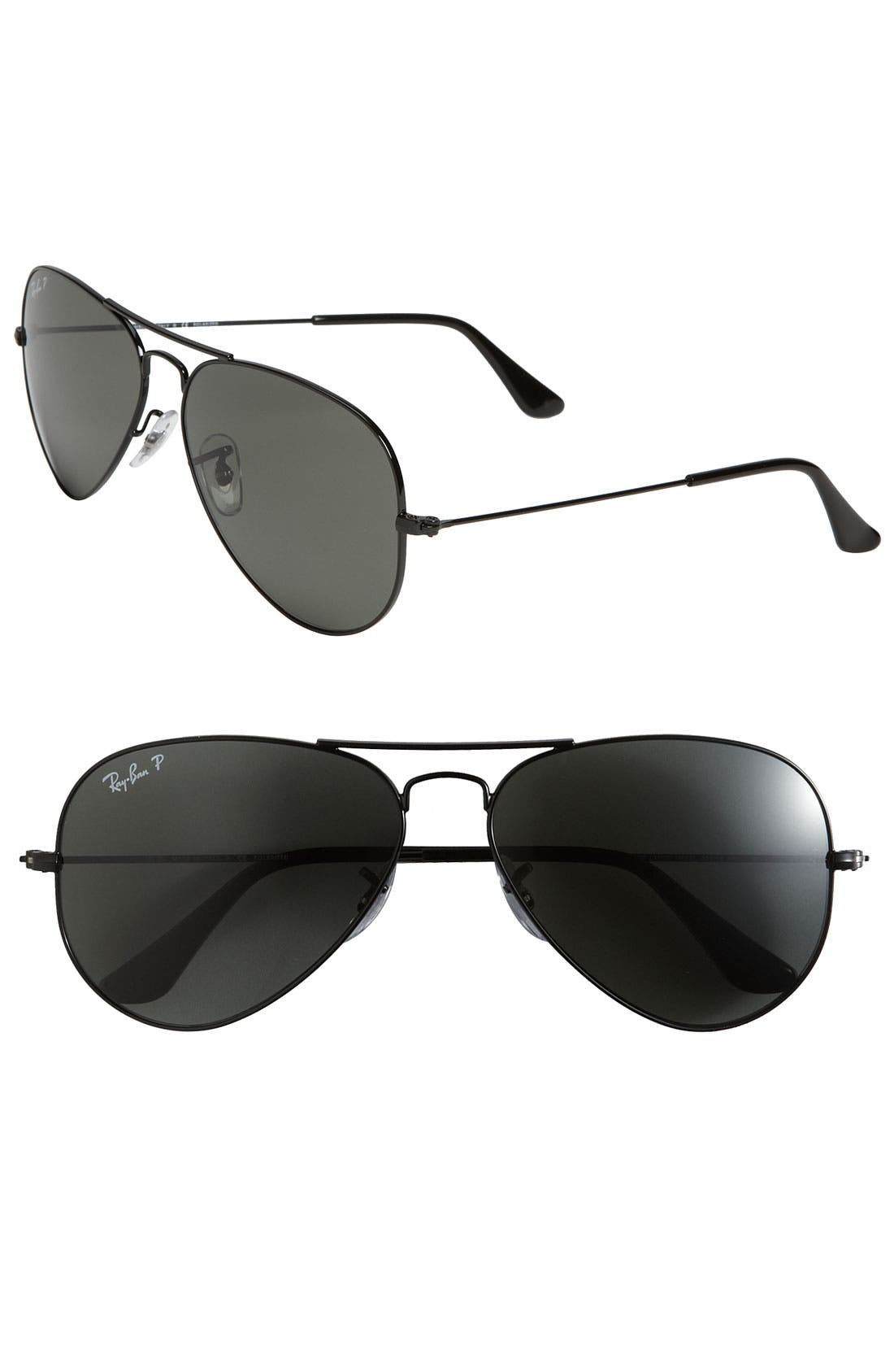 RAY-BAN Polarized Original Aviator 58mm Sunglasses