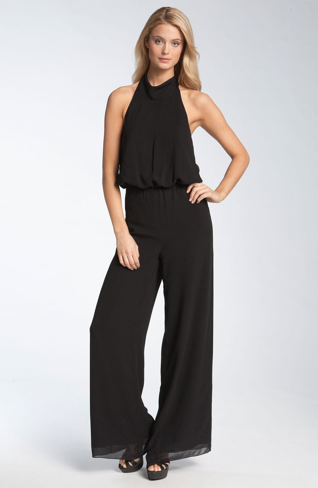 Alternate Image 1 Selected - Nicole Miller Silk Halter Jumpsuit