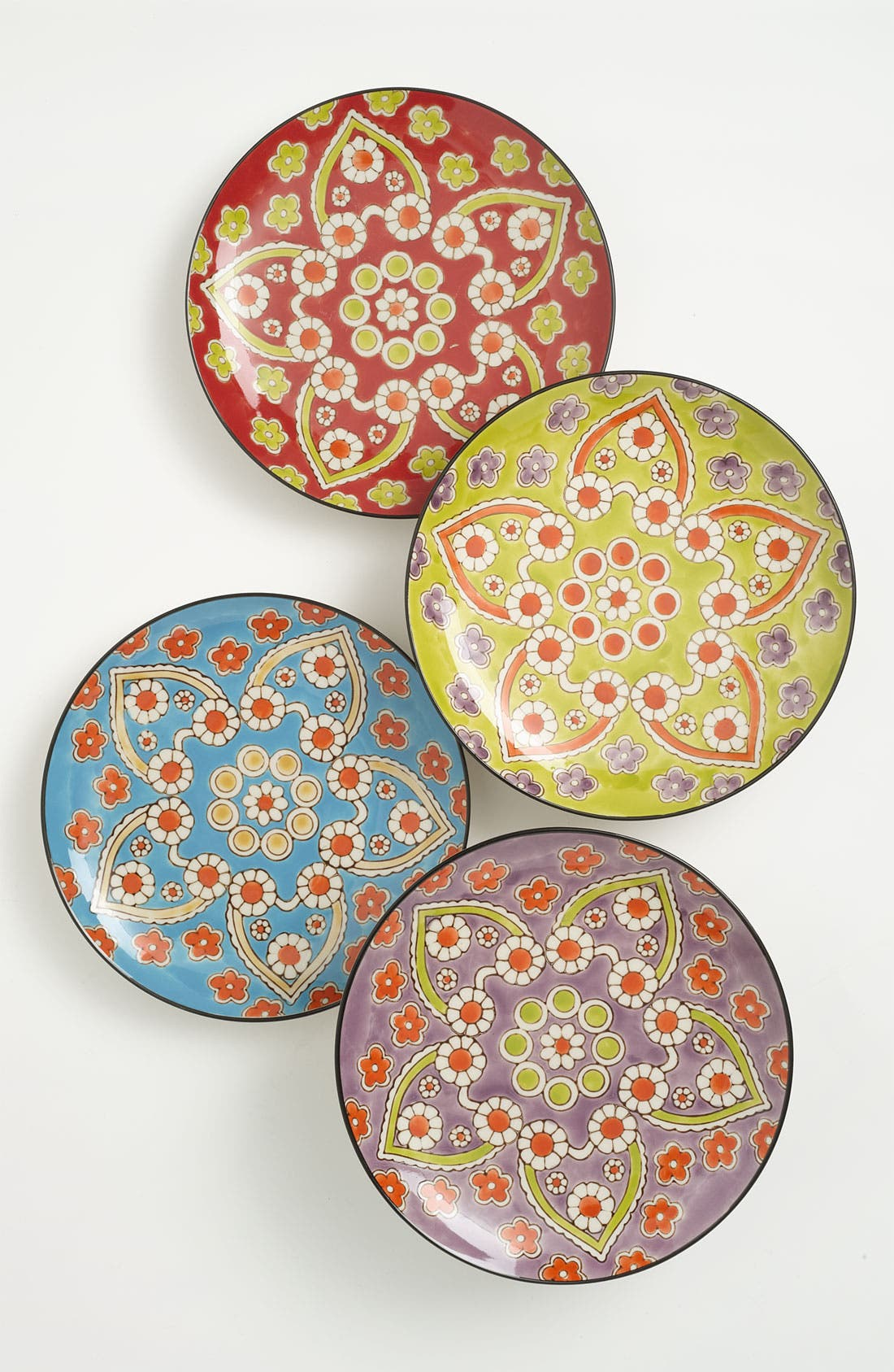 Alternate Image 1 Selected - Hand-Painted 'Lotus' Dessert Plates (Set of 4)